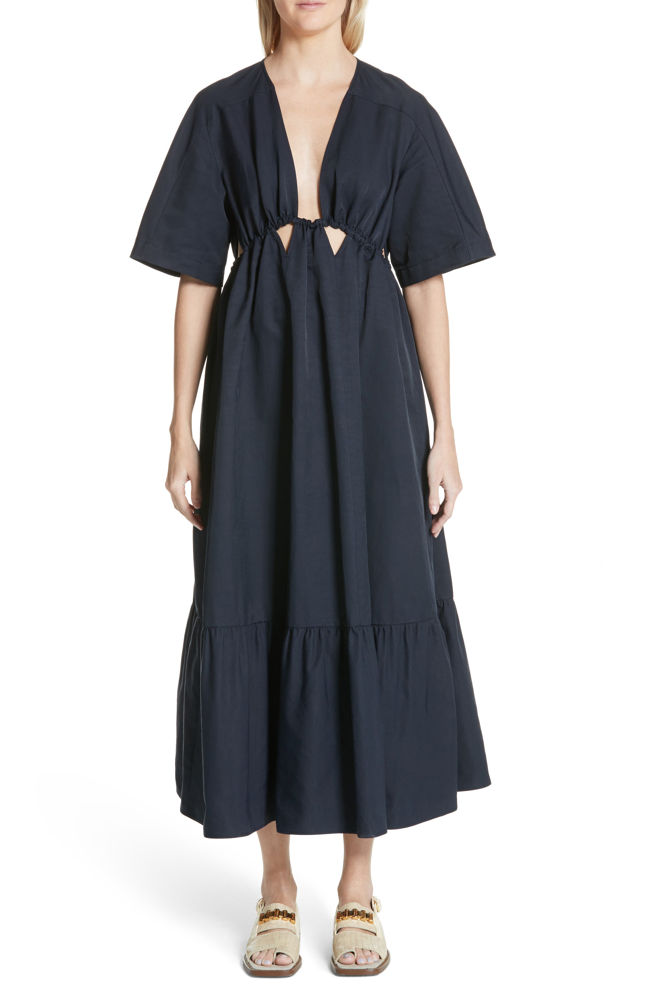 Plunging Cutout Maxi Dress,                             Main thumbnail 1, color,                             Ink
