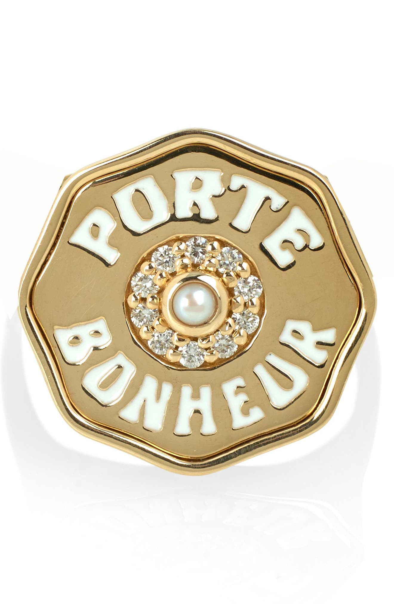 Porte Bonhuer Coin Ring,                             Alternate thumbnail 2, color,                             Yellow Gold