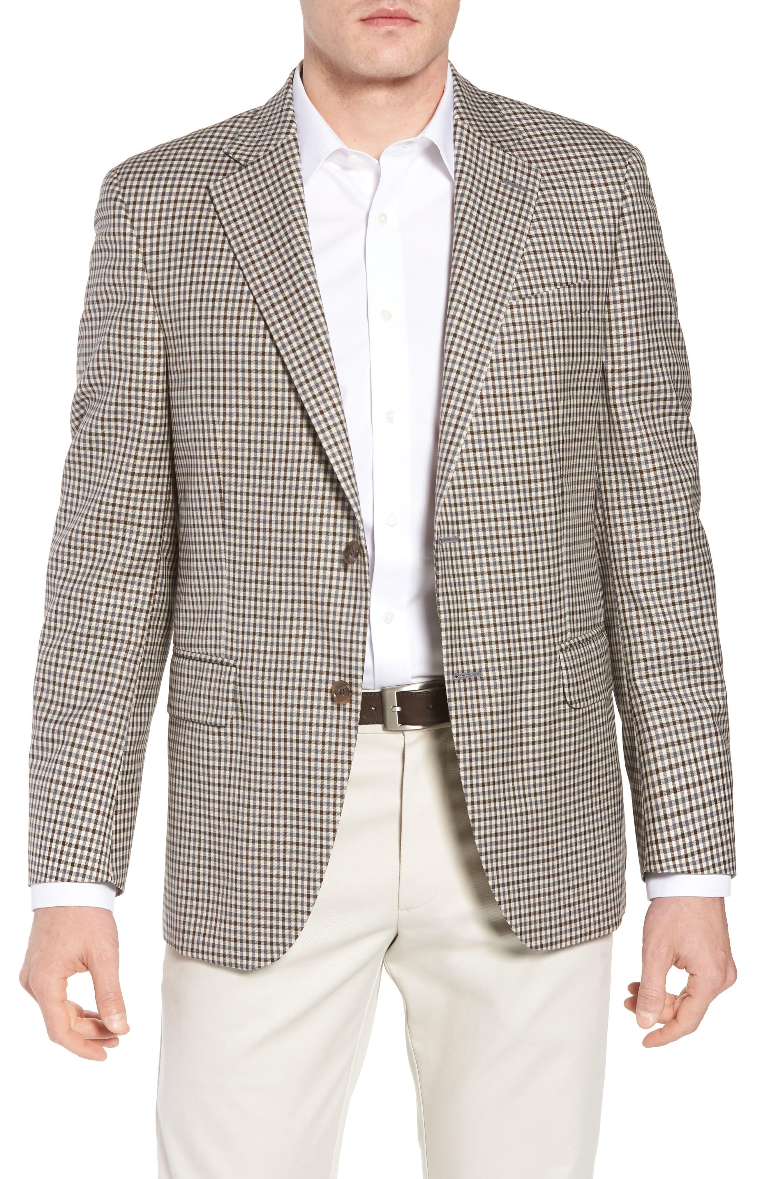 Classic Fit Check Wool Sport Coat,                             Main thumbnail 1, color,                             Tan/Grey