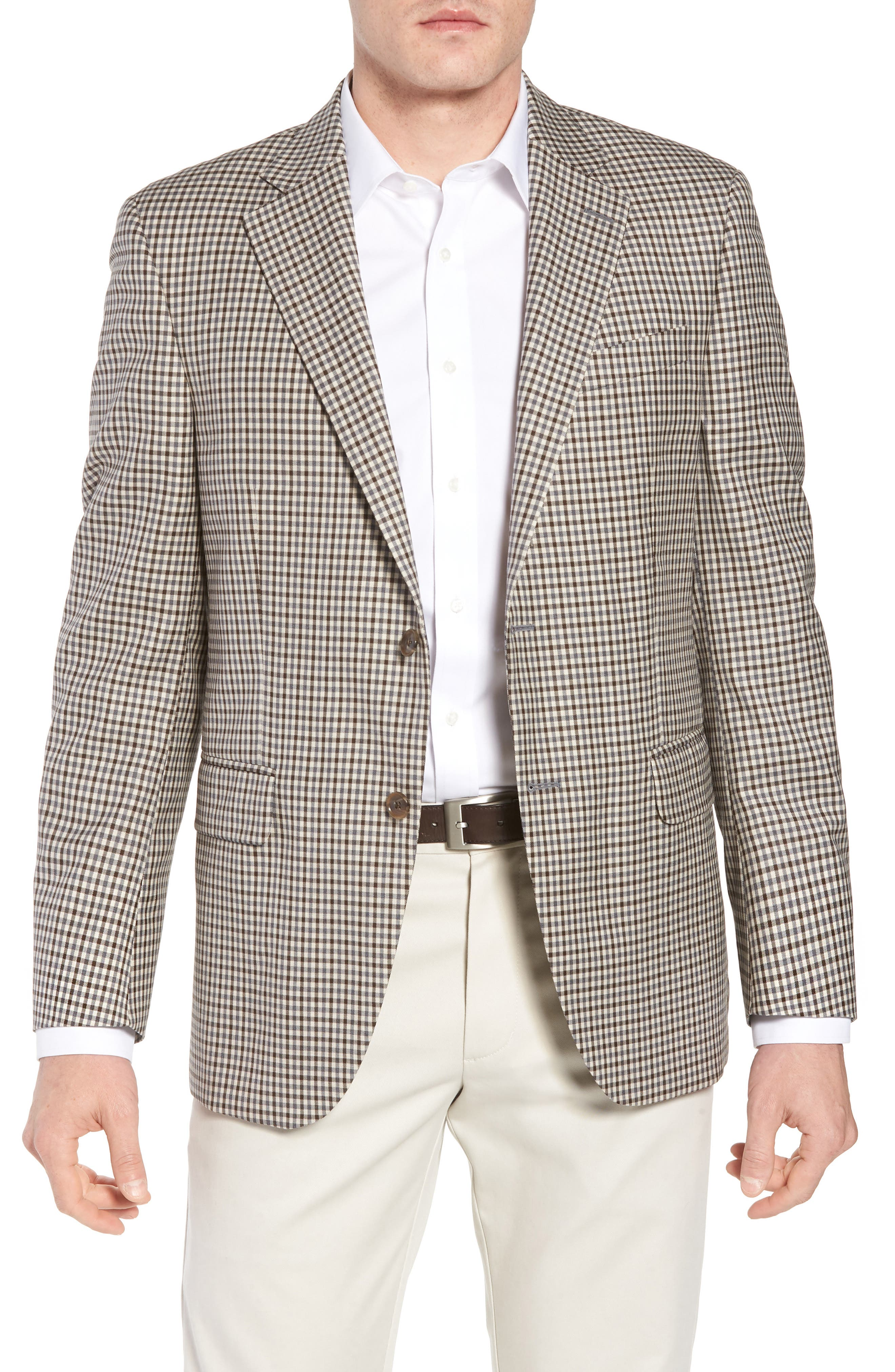 Classic Fit Check Wool Sport Coat,                         Main,                         color, Tan/Grey