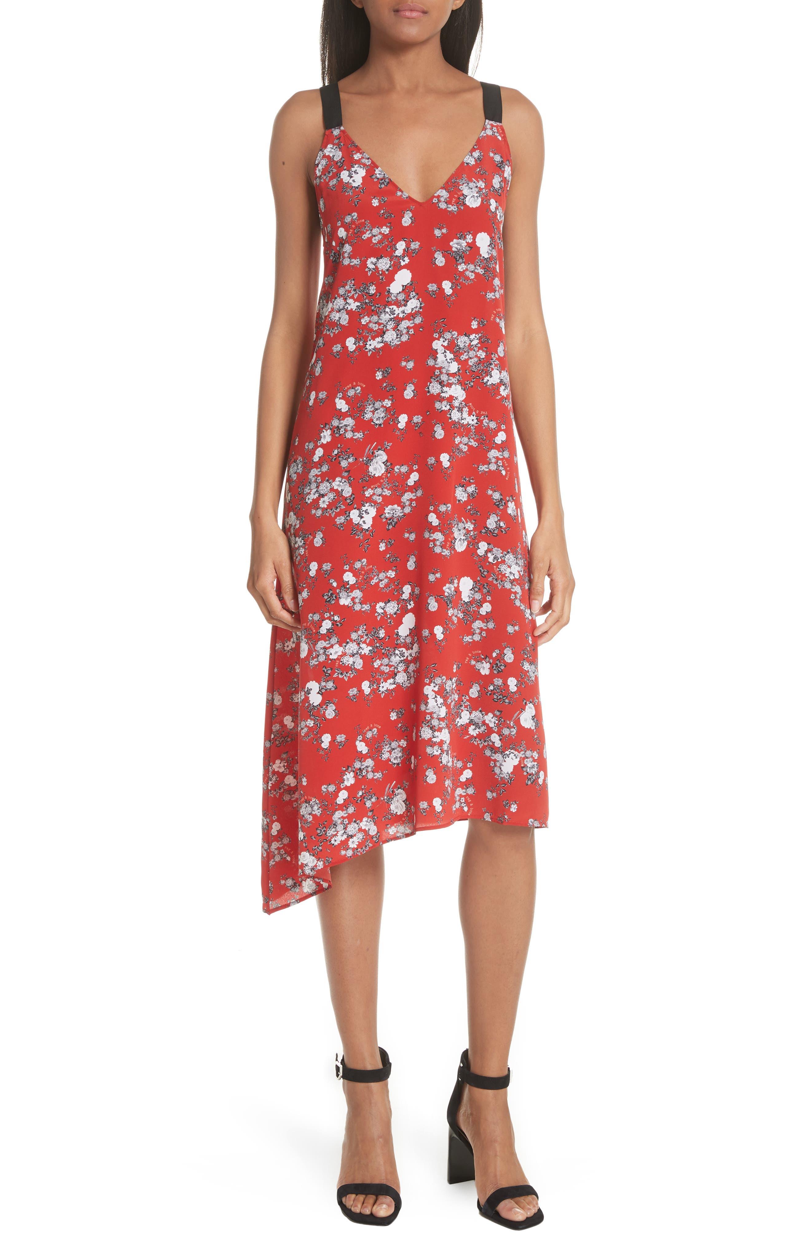 Zoe Floral Print Silk Dress,                         Main,                         color, Red Garden Floral