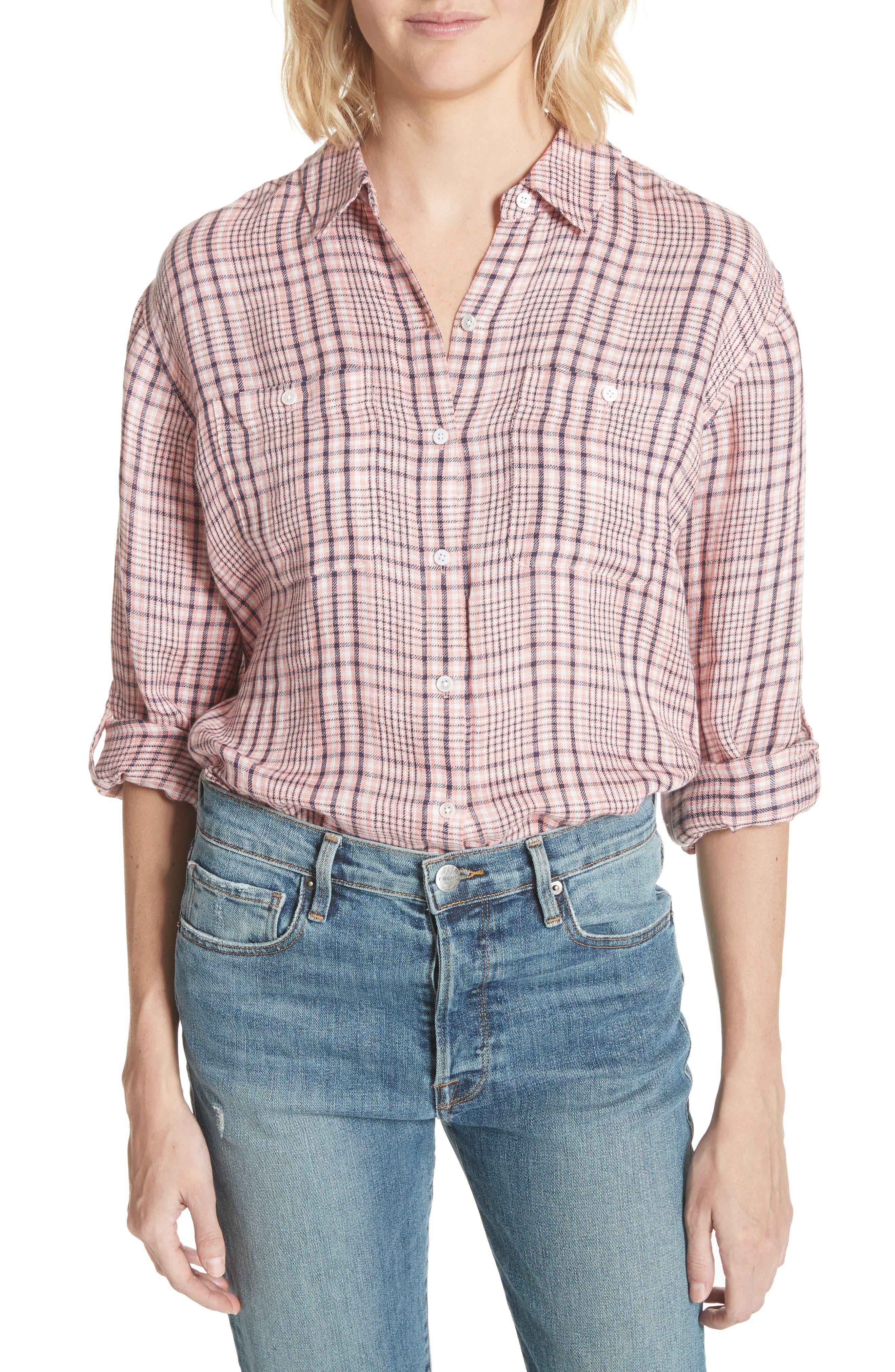 Lidelle Plaid Linen Shirt,                         Main,                         color, Baci