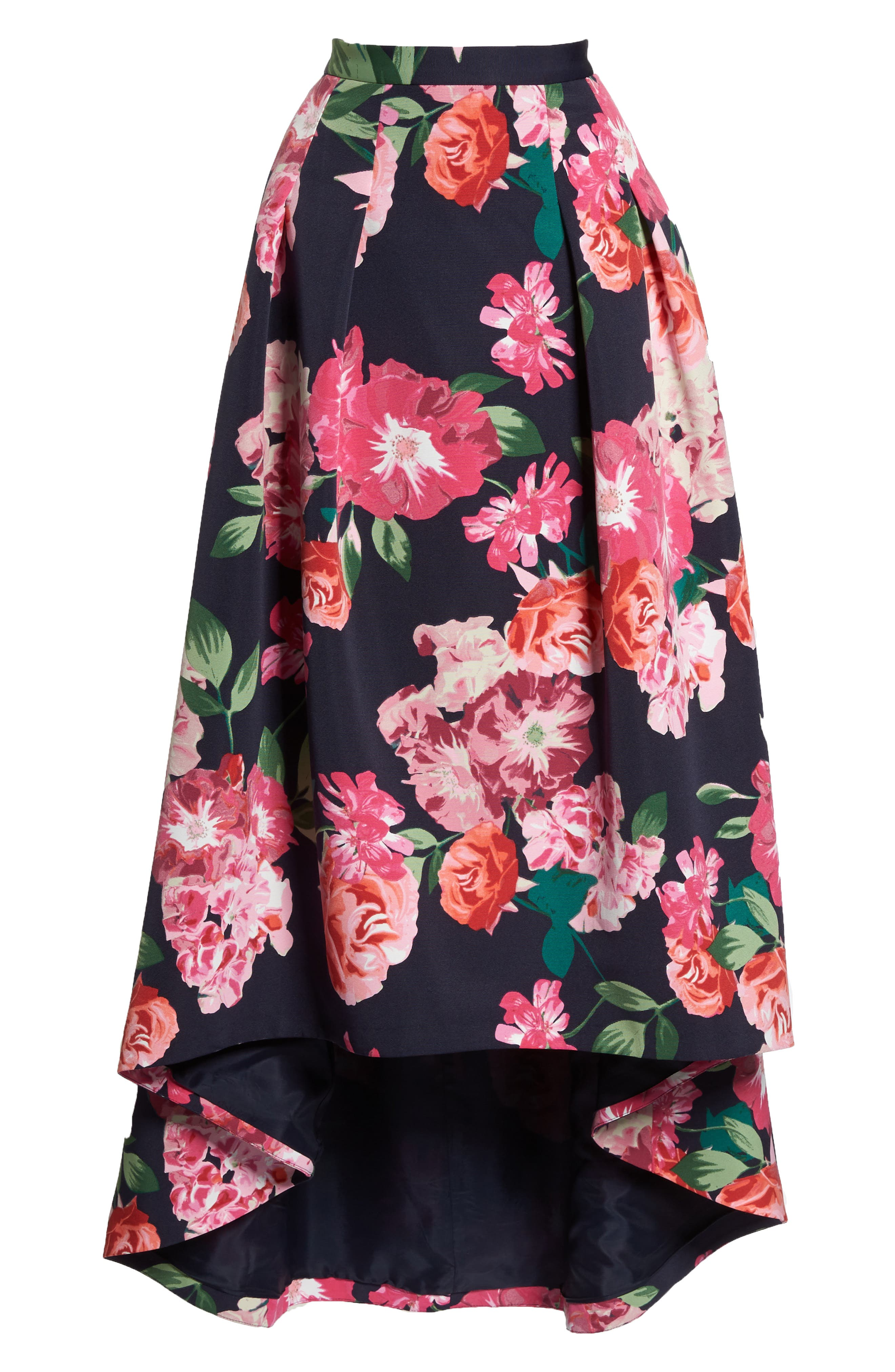 Floral High/Low Skirt,                             Alternate thumbnail 7, color,                             Navy/ Pink