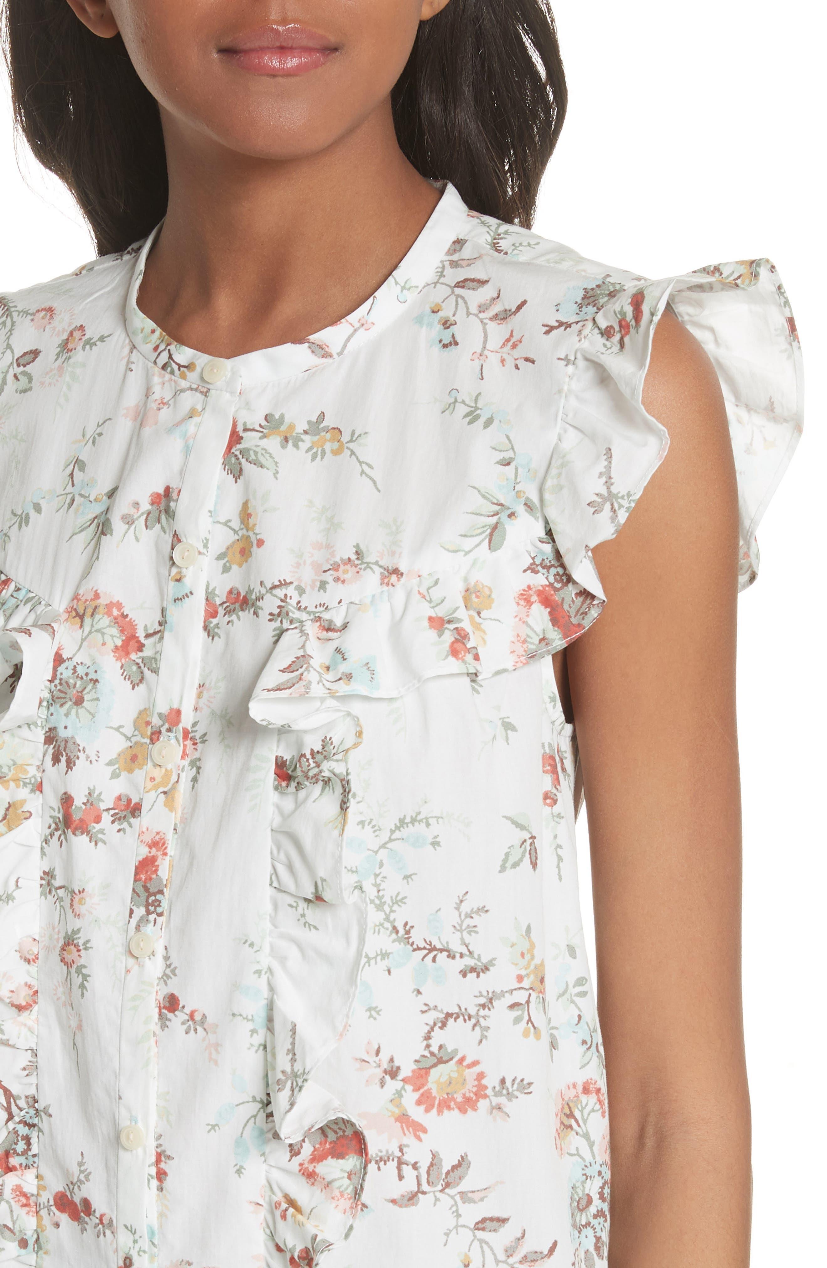 Belle Ruffle Floral Cotton Top,                             Alternate thumbnail 4, color,                             Milk Combo