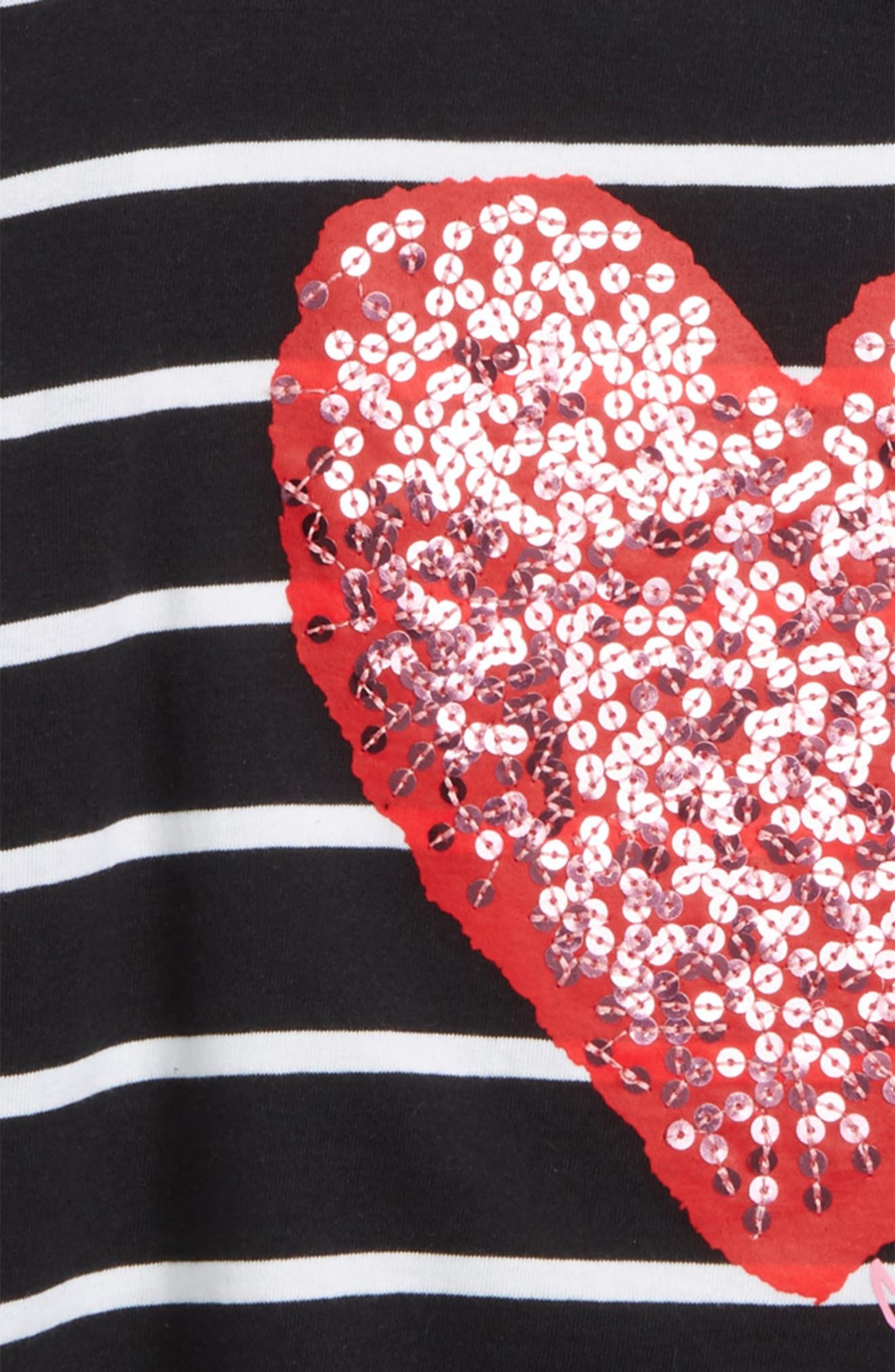 Stripe Sequin Heart Tee,                             Alternate thumbnail 2, color,                             Anthracite