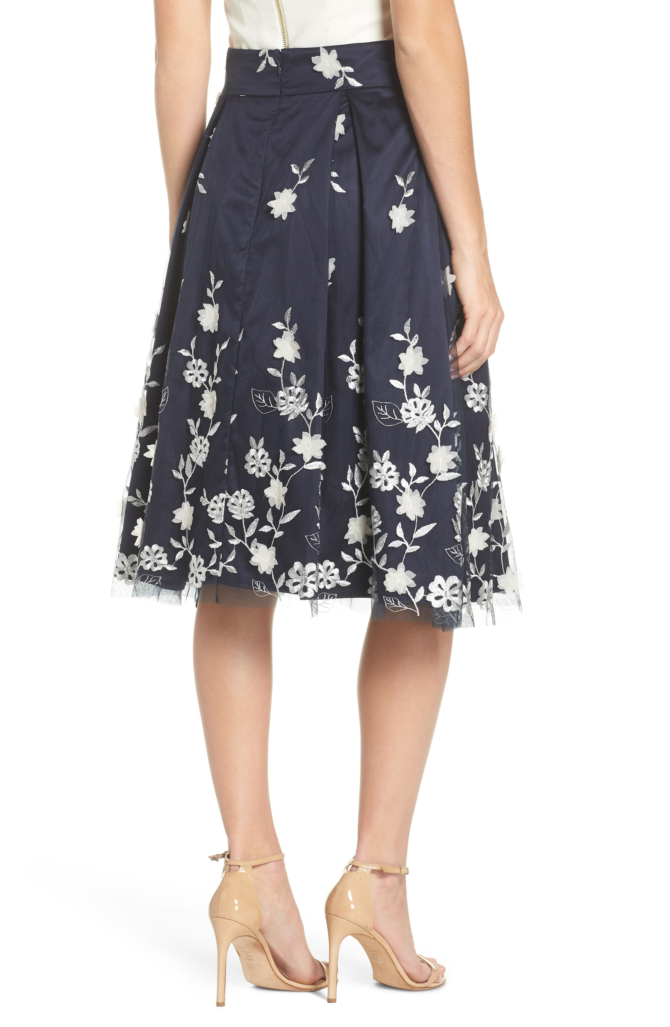 Embroidered A-Line Skirt,                             Alternate thumbnail 3, color,                             Navy Ivory