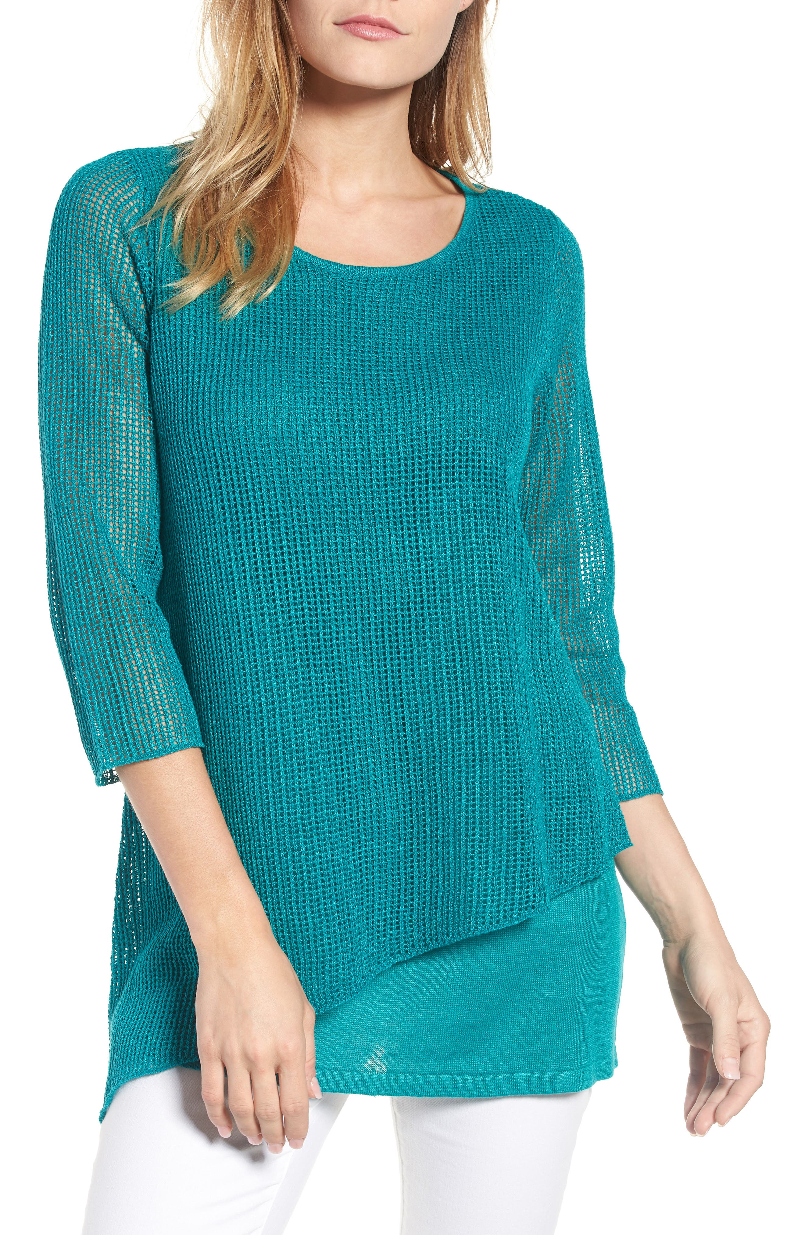 Organic Linen Tunic Sweater,                         Main,                         color, Turquoise