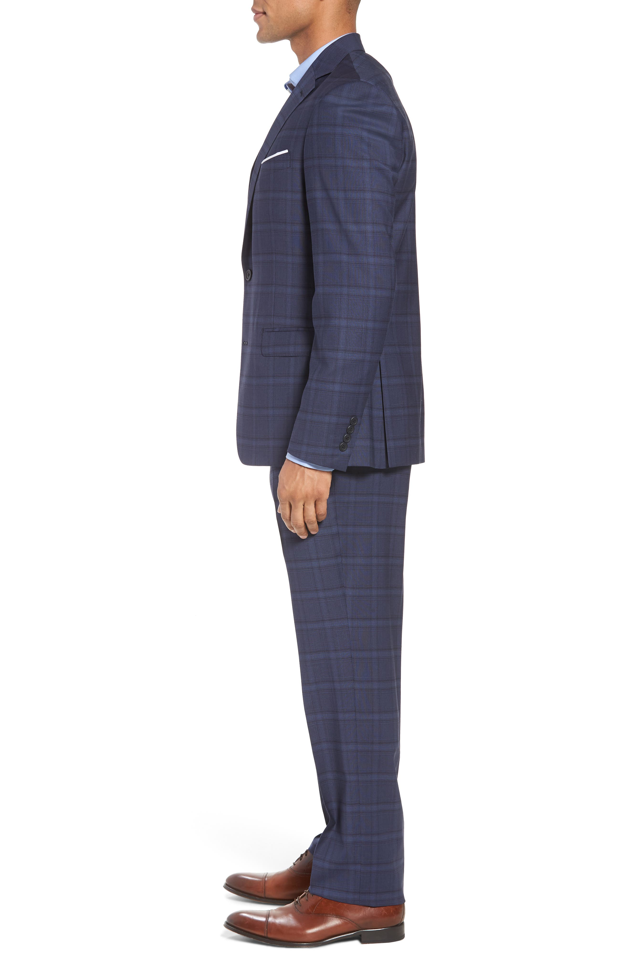 Trim Fit Plaid Stretch Wool Travel Suit,                             Alternate thumbnail 3, color,                             Navy