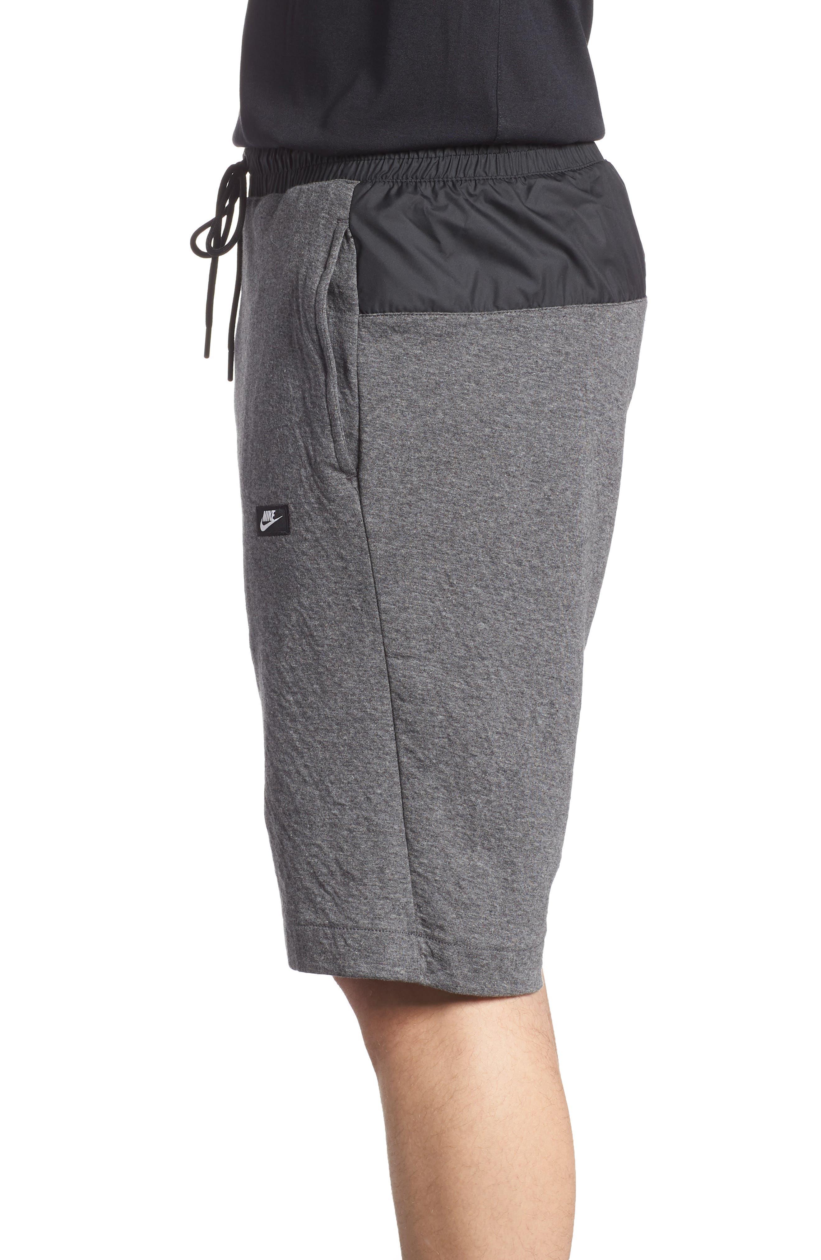Sportswear Modern Shorts,                             Alternate thumbnail 3, color,                             Charcoal Heather/ Black