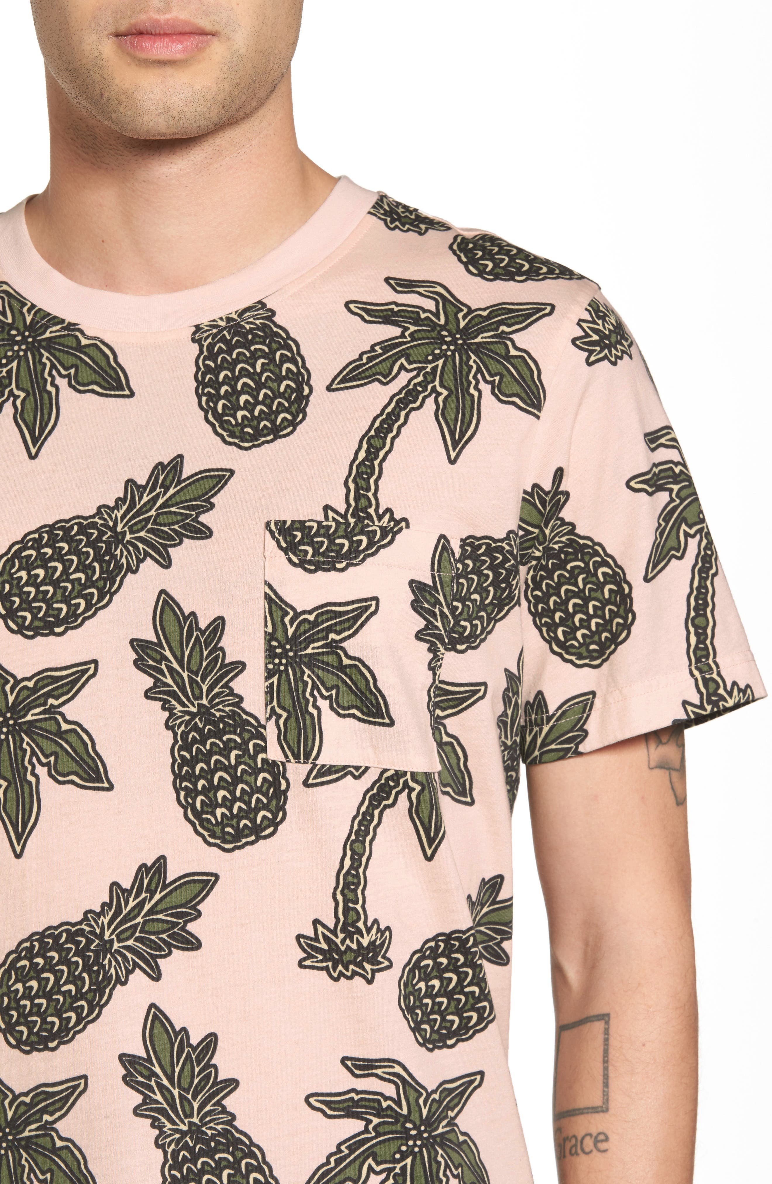 Maxwell Pineapple Print T-Shirt,                             Alternate thumbnail 4, color,                             Pineapple Pink