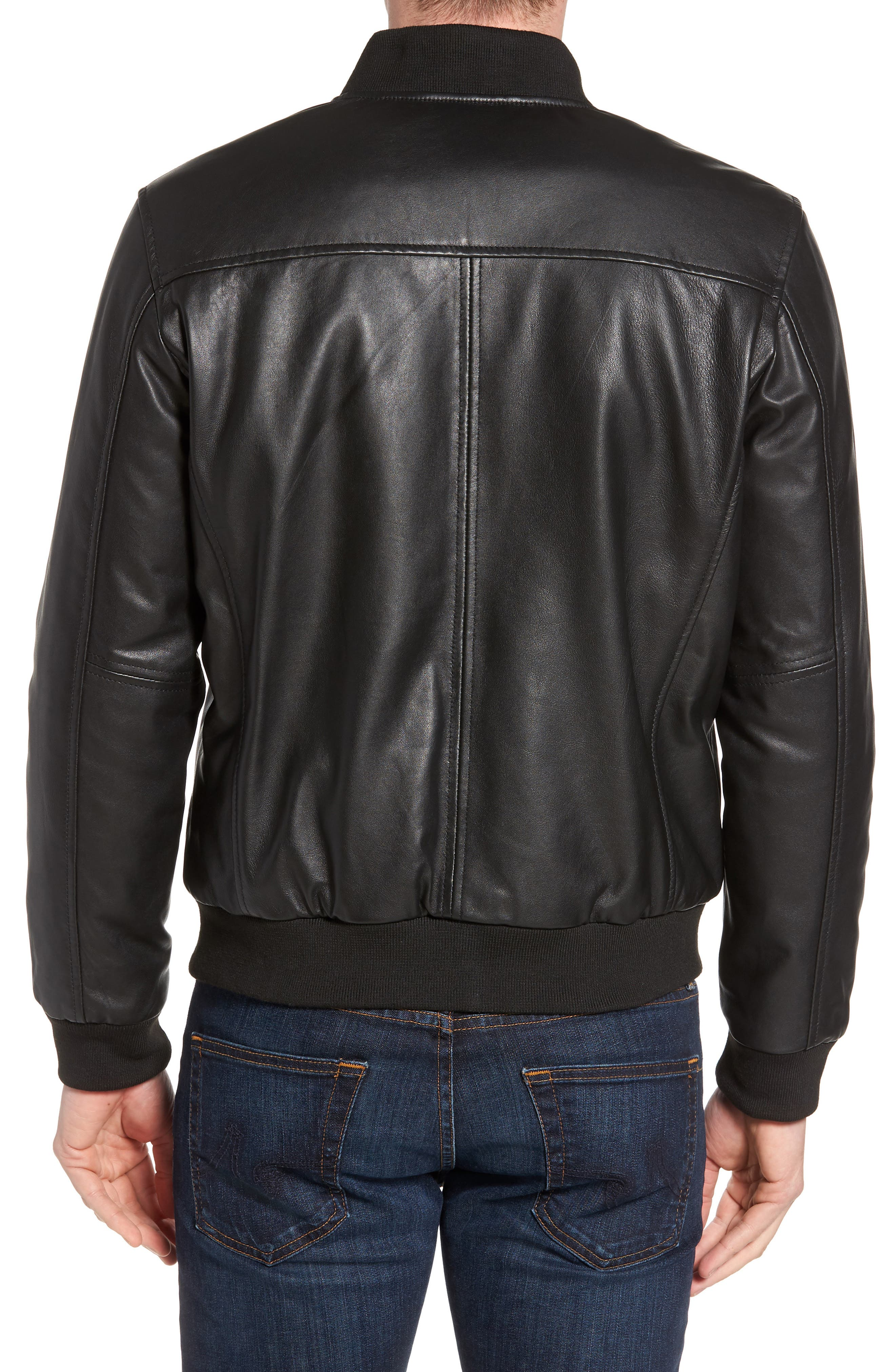 Reversible Leather Jacket,                             Alternate thumbnail 3, color,                             Black/ Navy
