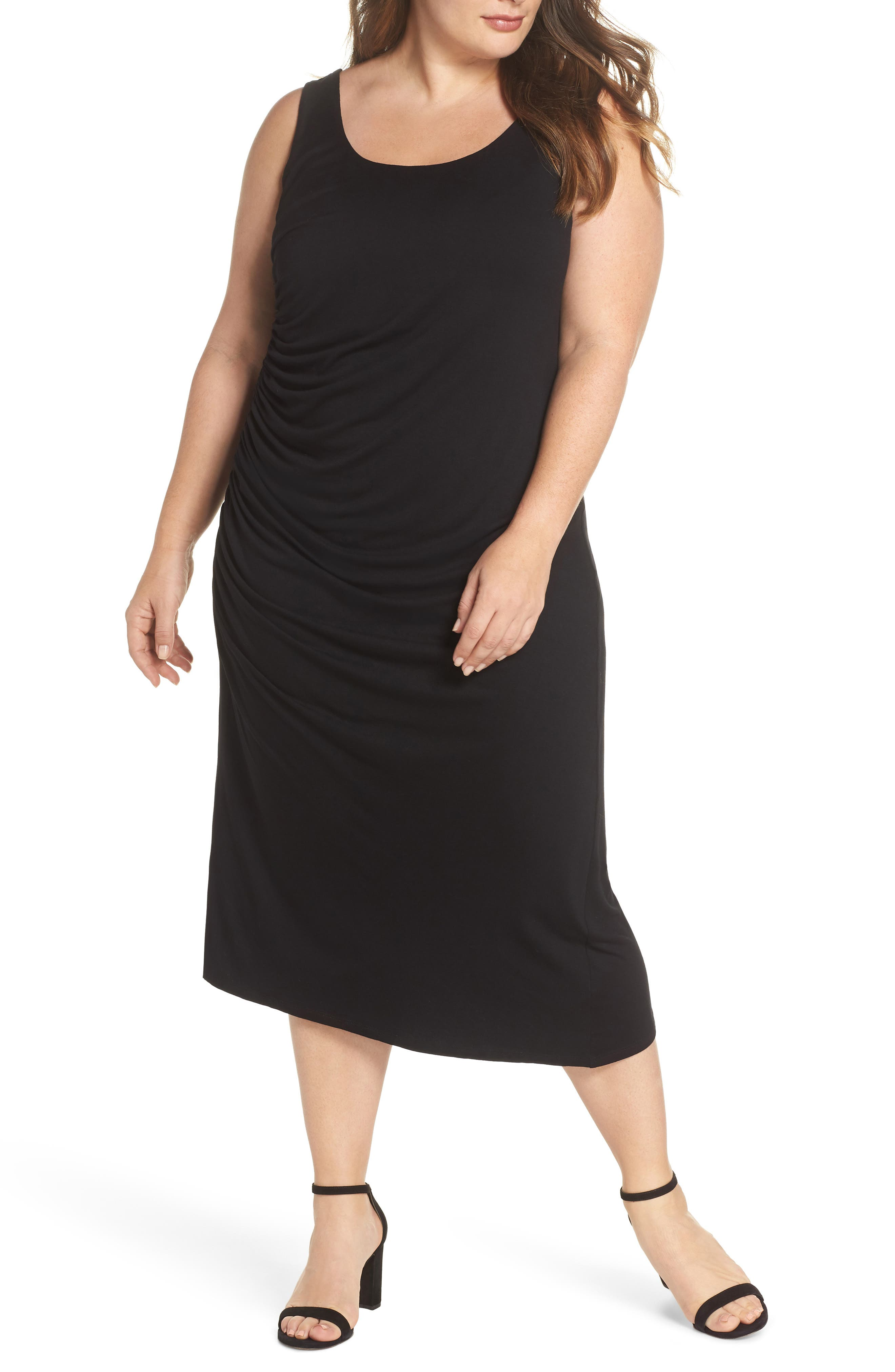 Side Ruched Body-Con Dress,                             Main thumbnail 1, color,                             Rich Black