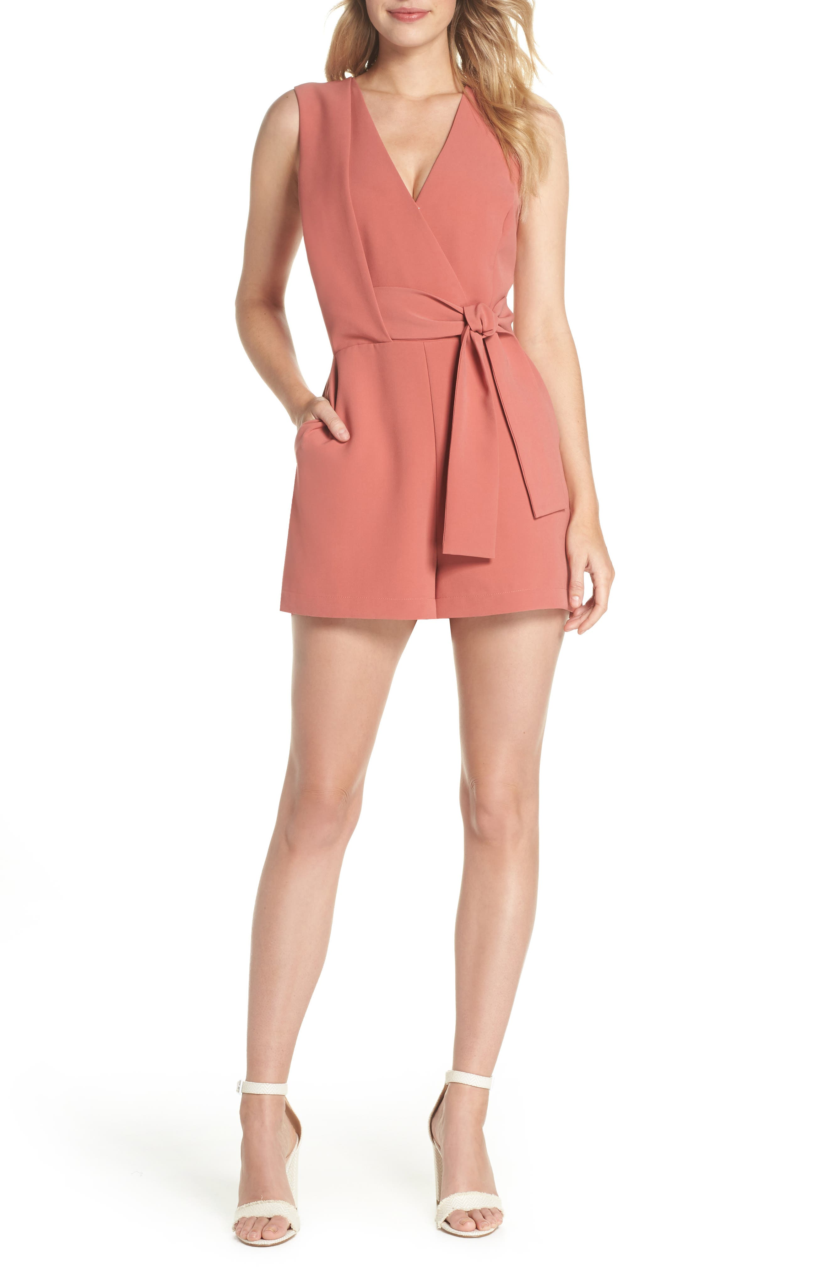Val Sleeveless Romper,                         Main,                         color, Old Rose