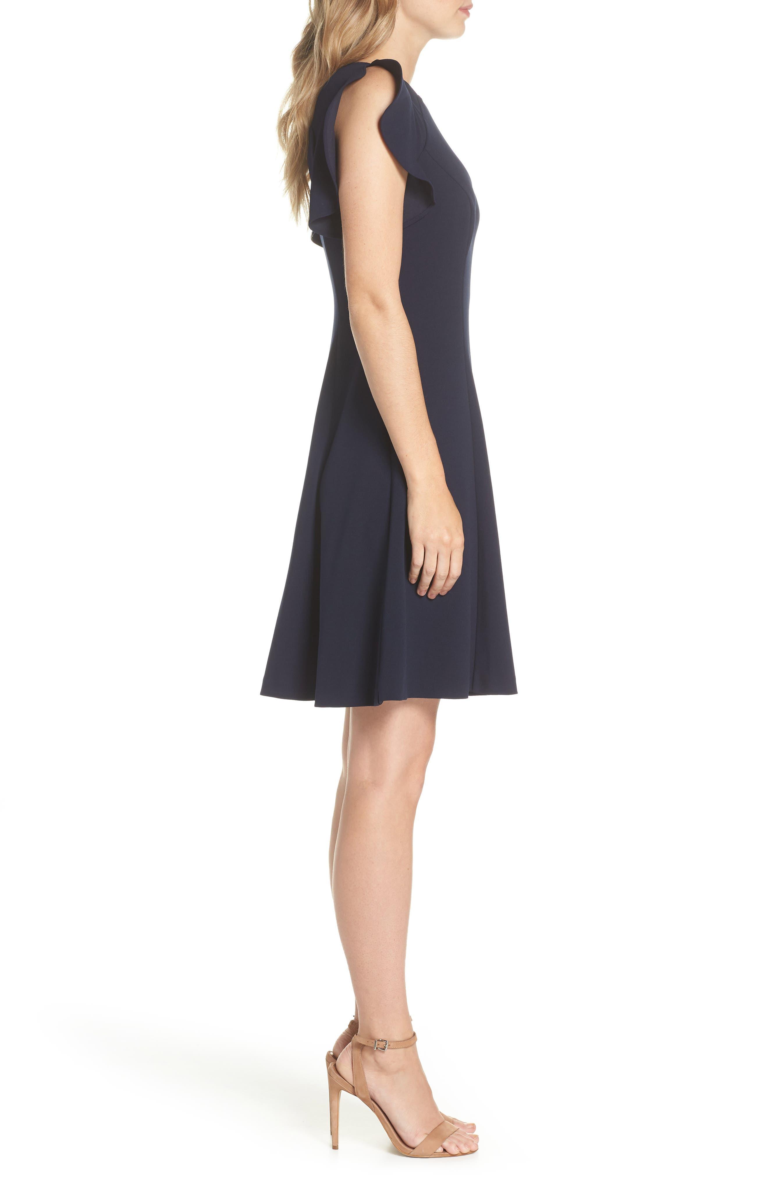 Cap Sleeve Scuba Crepe Fit & Flare Dress,                             Alternate thumbnail 3, color,                             Navy