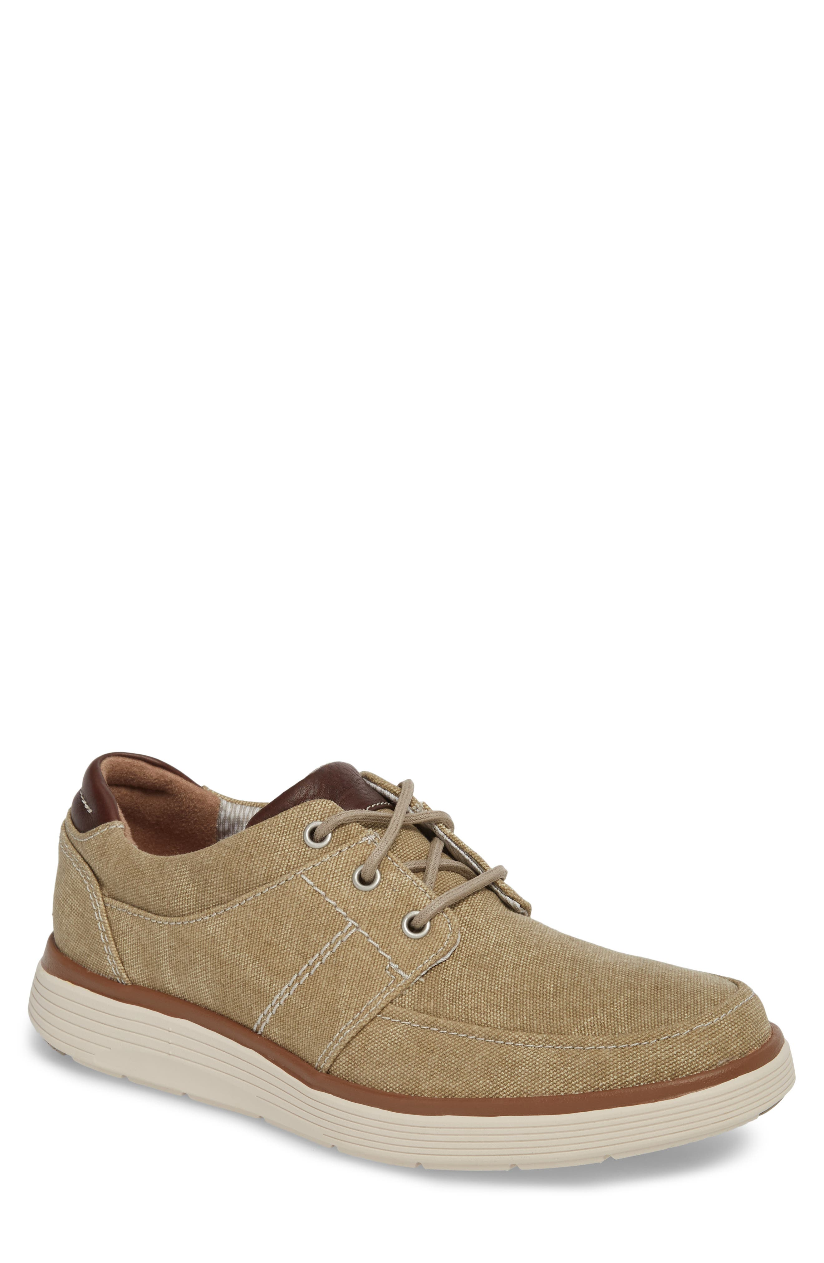 Clarks<sup>®</sup> Unabode Form Sneaker,                             Main thumbnail 1, color,                             Sand Fabric