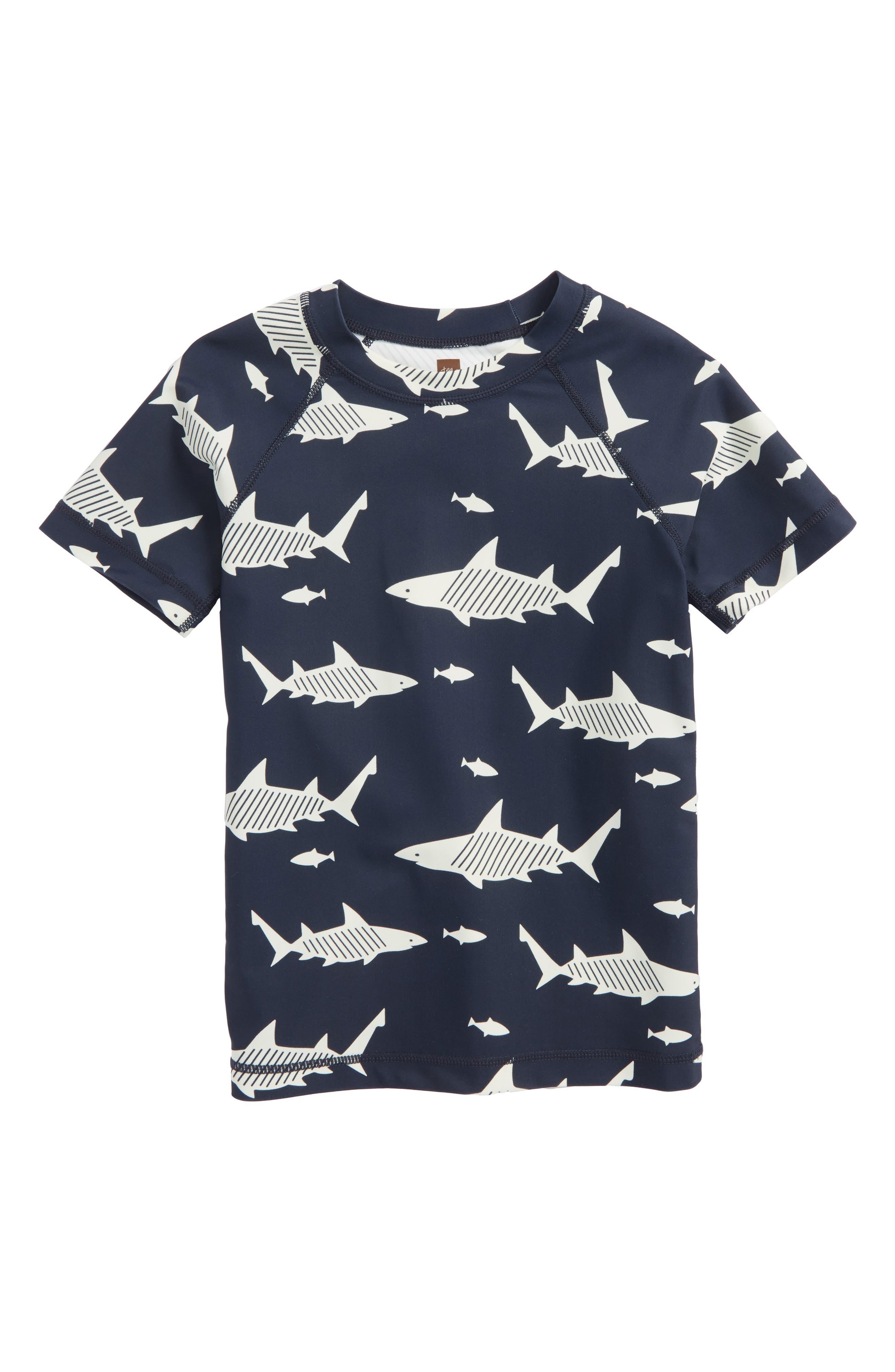 Tea Collection Shark Short Sleeve Rashguard (Toddler Boys & Little Boys)