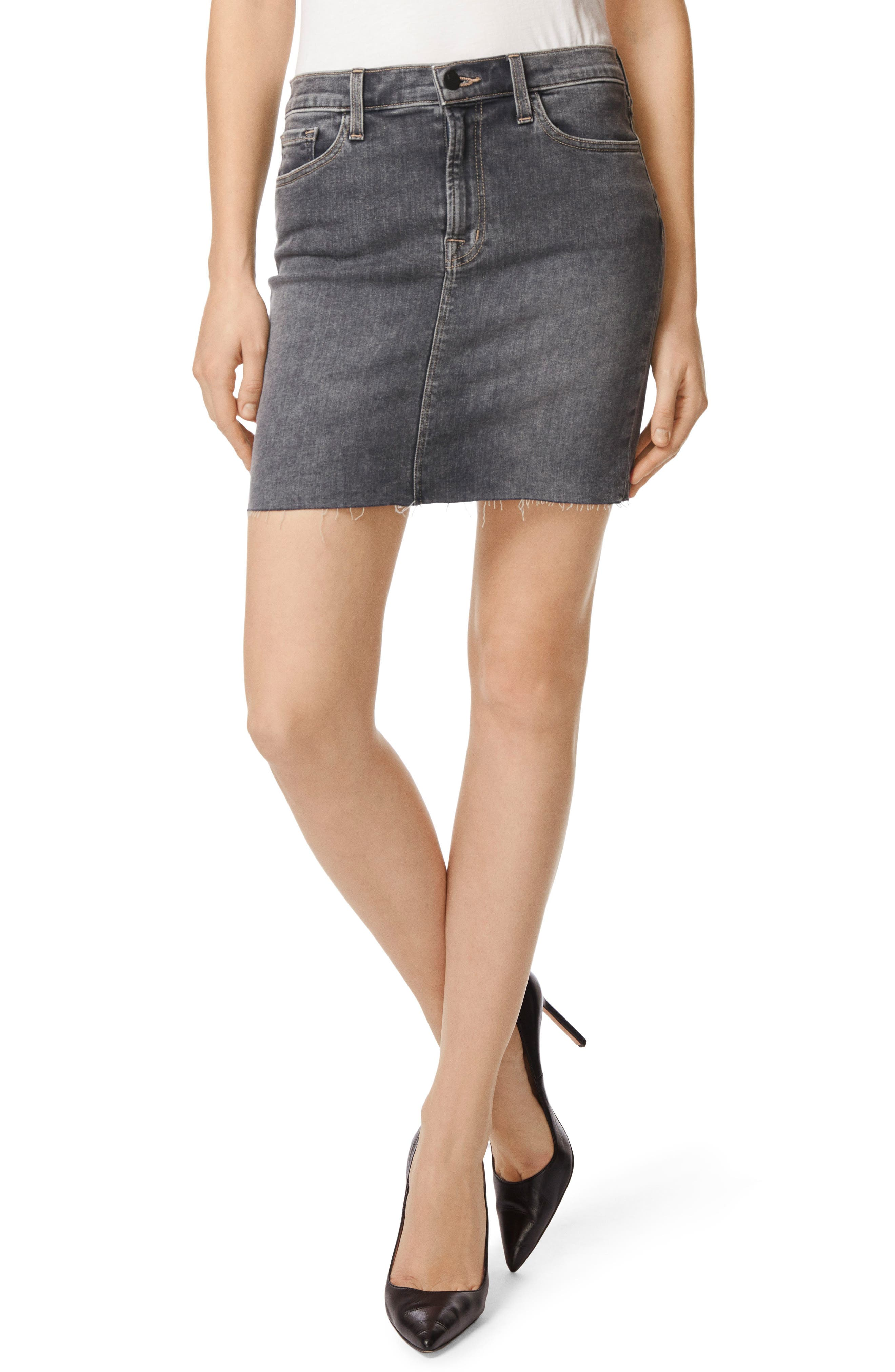 Lyla Raw Hem Miniskirt,                             Main thumbnail 1, color,                             Obscura