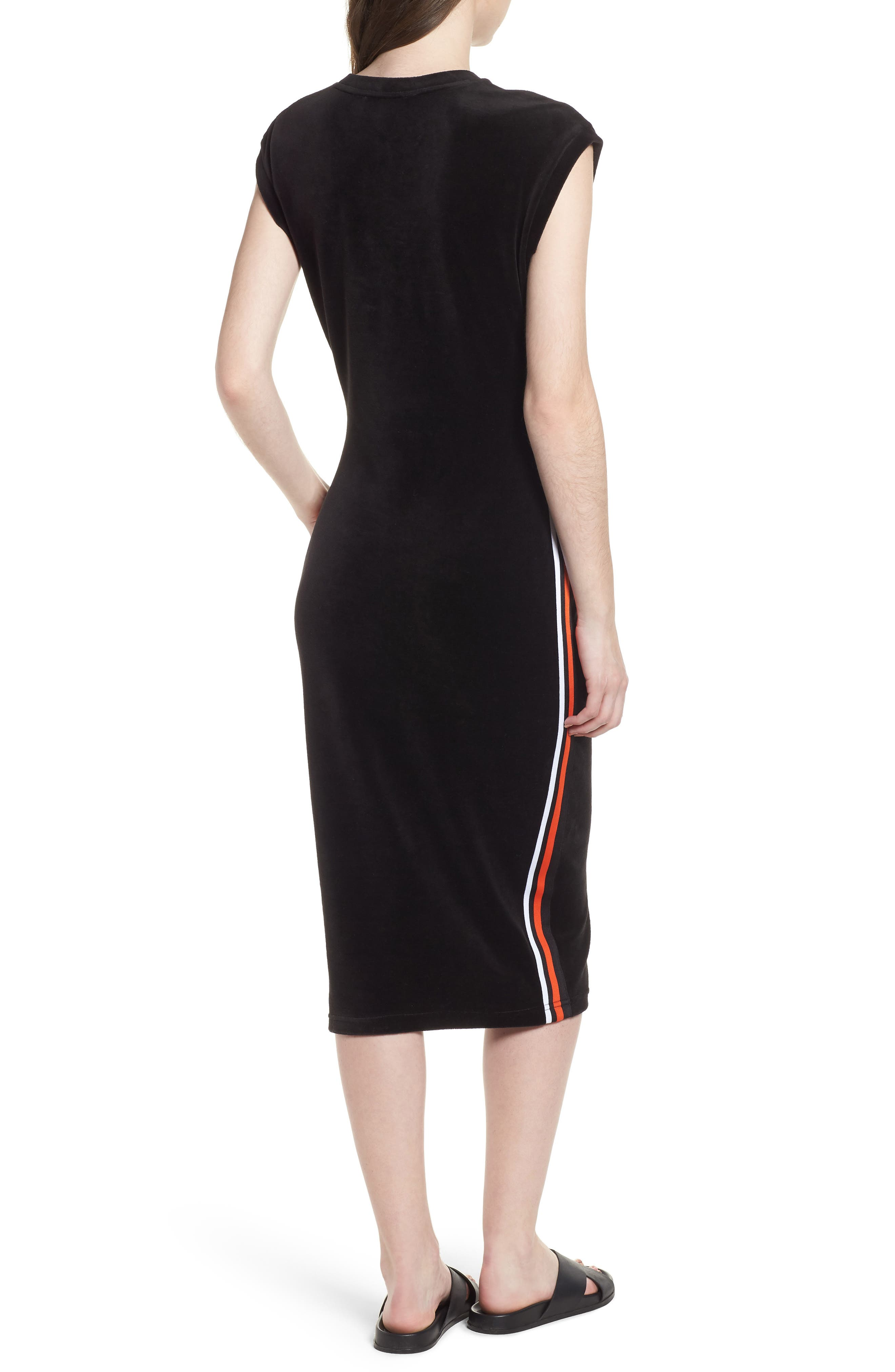 Fitted Stretch Velour Midi Dress,                             Alternate thumbnail 2, color,                             Pitch Black