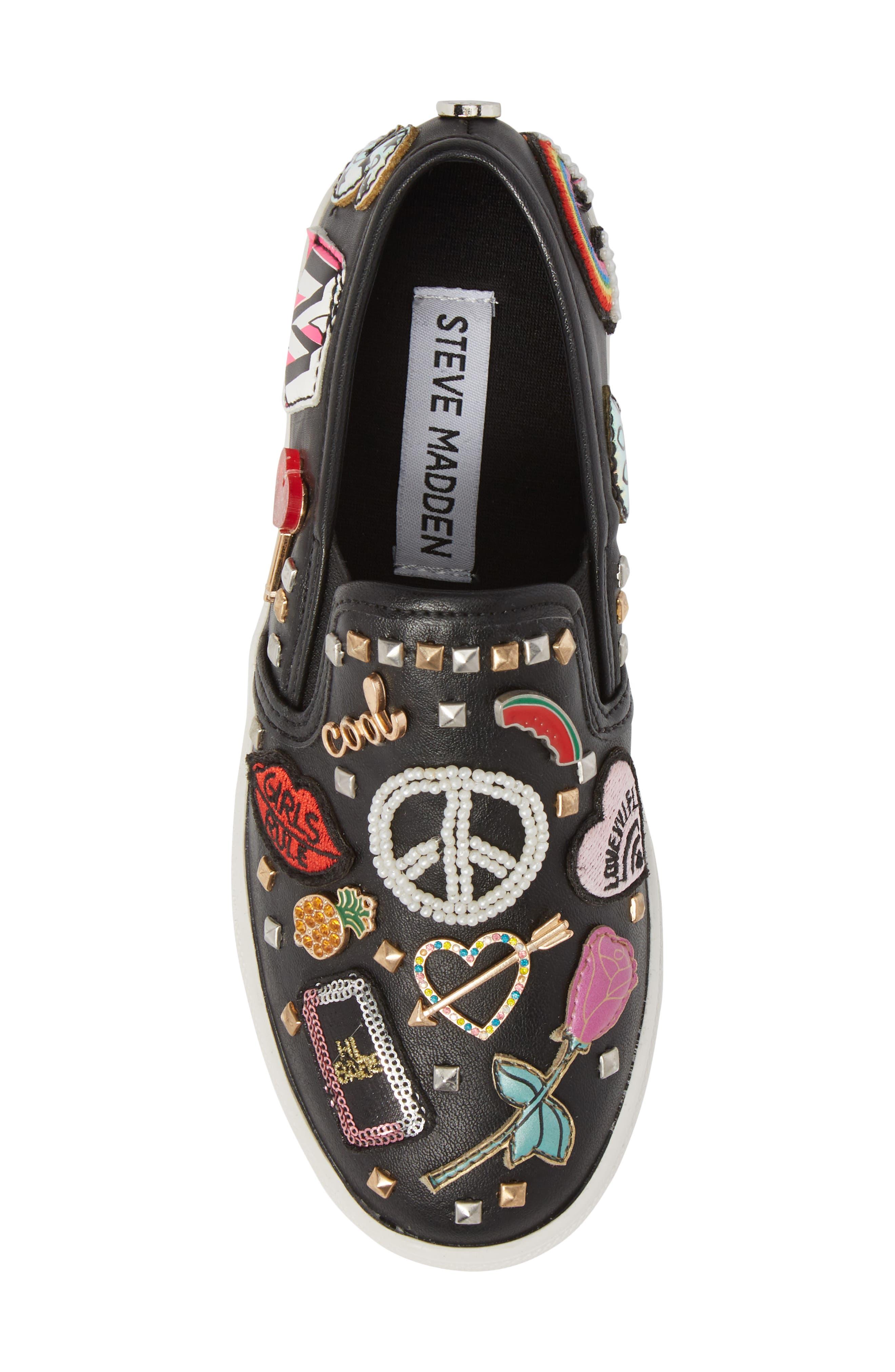 JCraze Embellished Slip-On Sneaker,                             Alternate thumbnail 5, color,                             Black