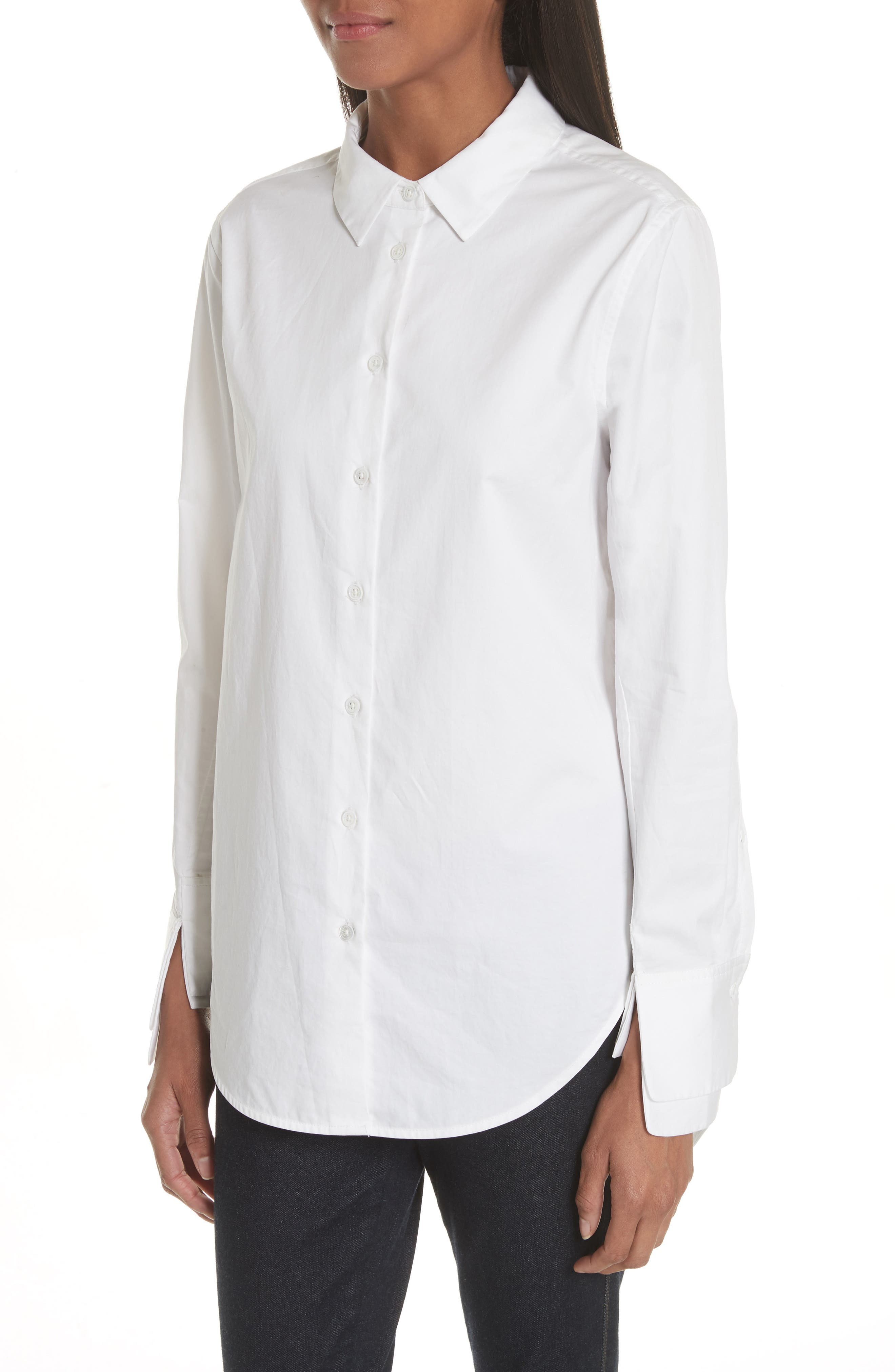 Essential Layered Split Cuff Blouse,                             Alternate thumbnail 4, color,                             Bright White