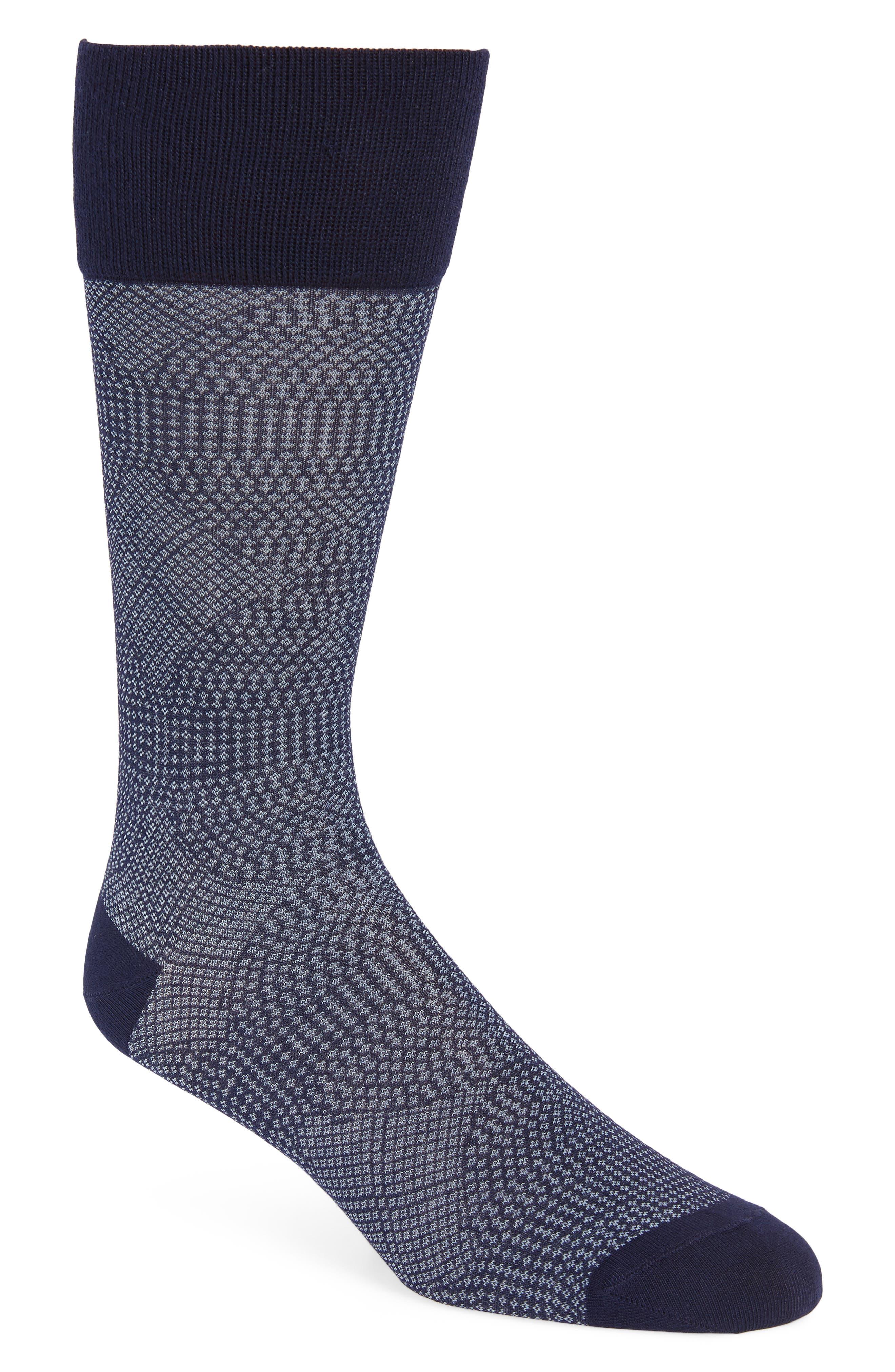 Quatrefoil Solid Socks,                         Main,                         color, Navy/ White