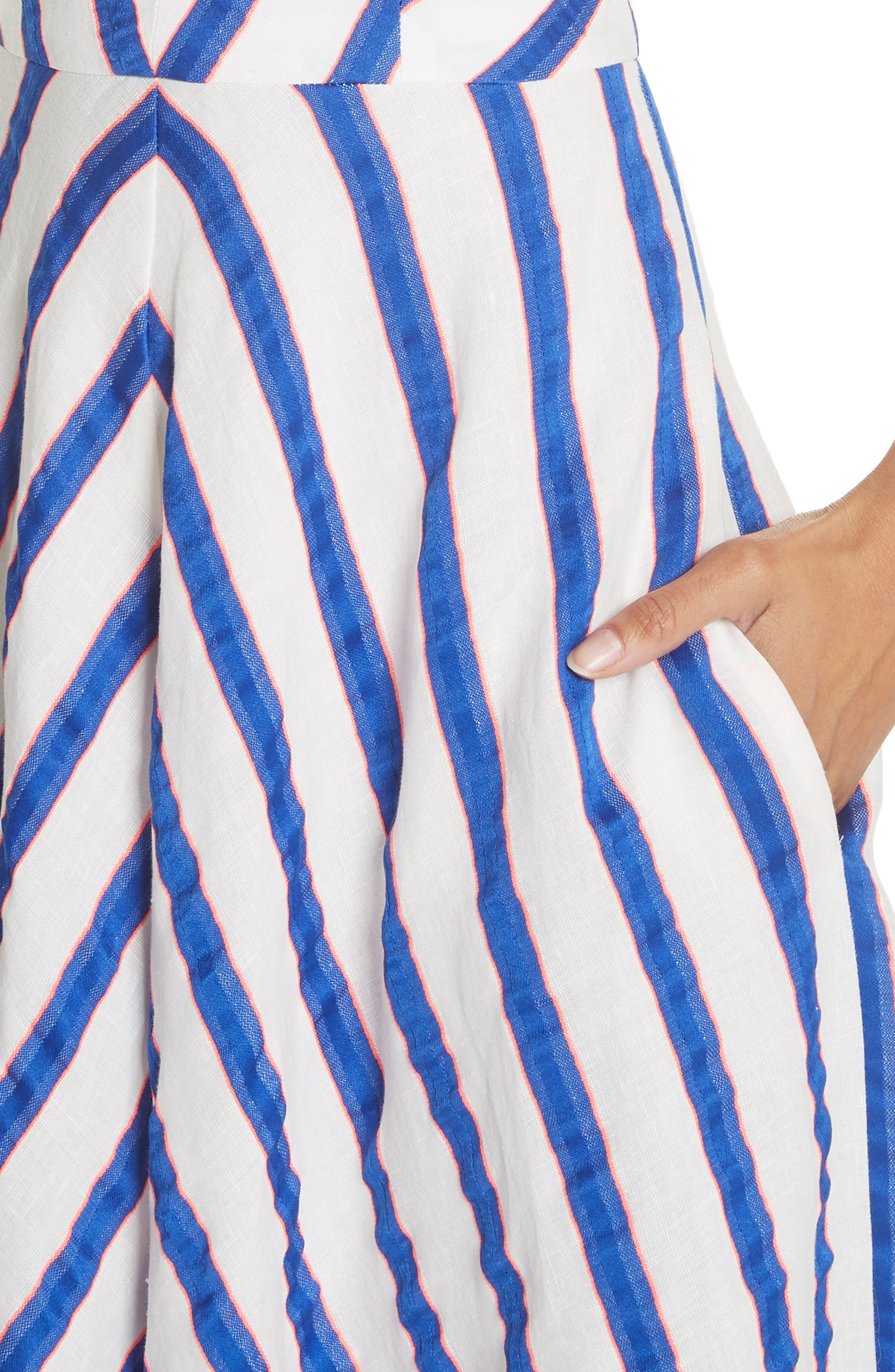Stripe Washed Linen Blend Sundress,                             Alternate thumbnail 4, color,                             Cobalt