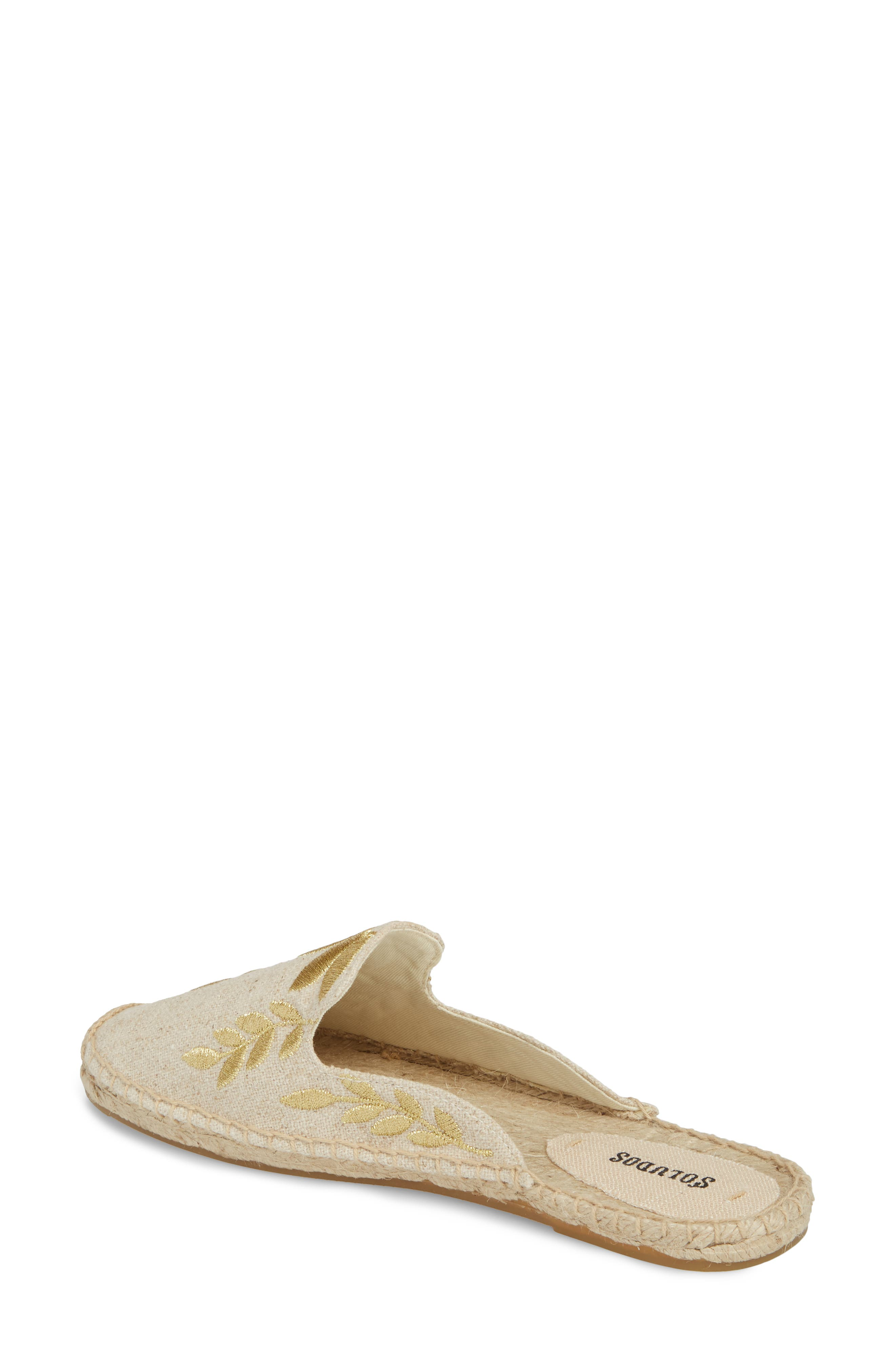 Leaf Embroidered Loafer Mule,                             Alternate thumbnail 2, color,                             Sand/ Metallic