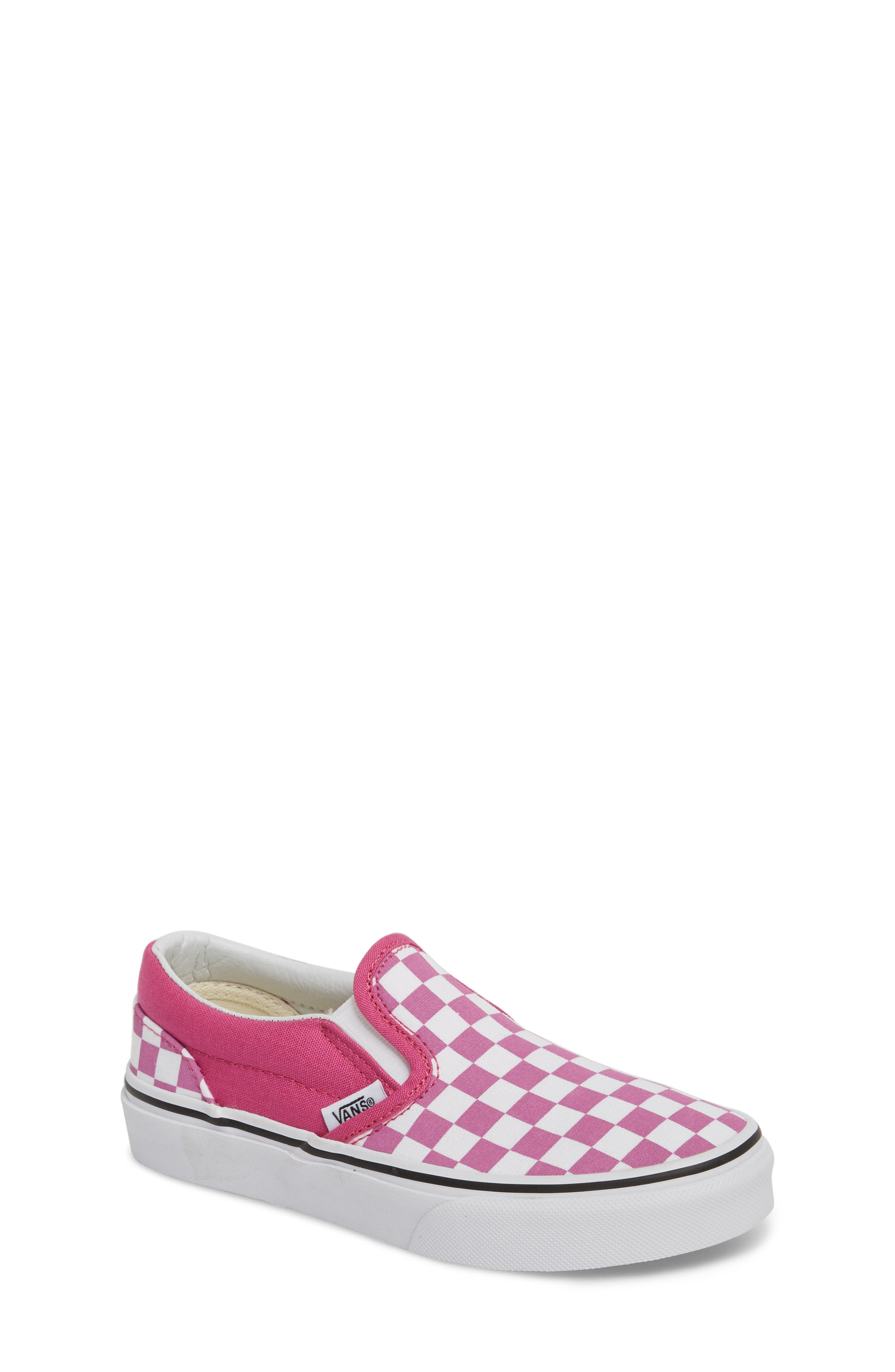 'Classic - Checkerboard' Slip-On,                             Main thumbnail 1, color,                             Rose/ White Checkerboard