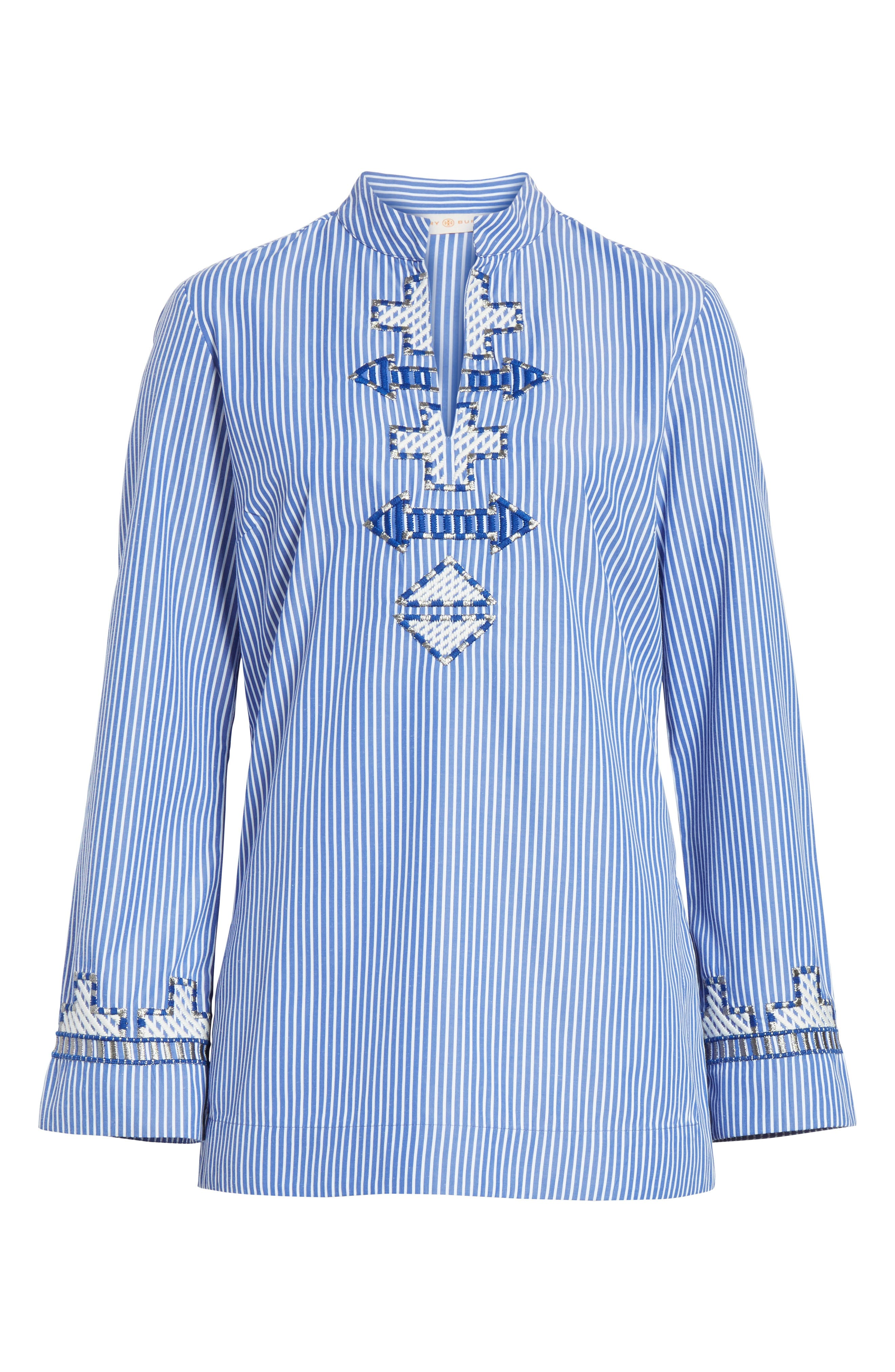 Tory Embroidered Stripe Tunic,                             Alternate thumbnail 6, color,                             Blue/ White