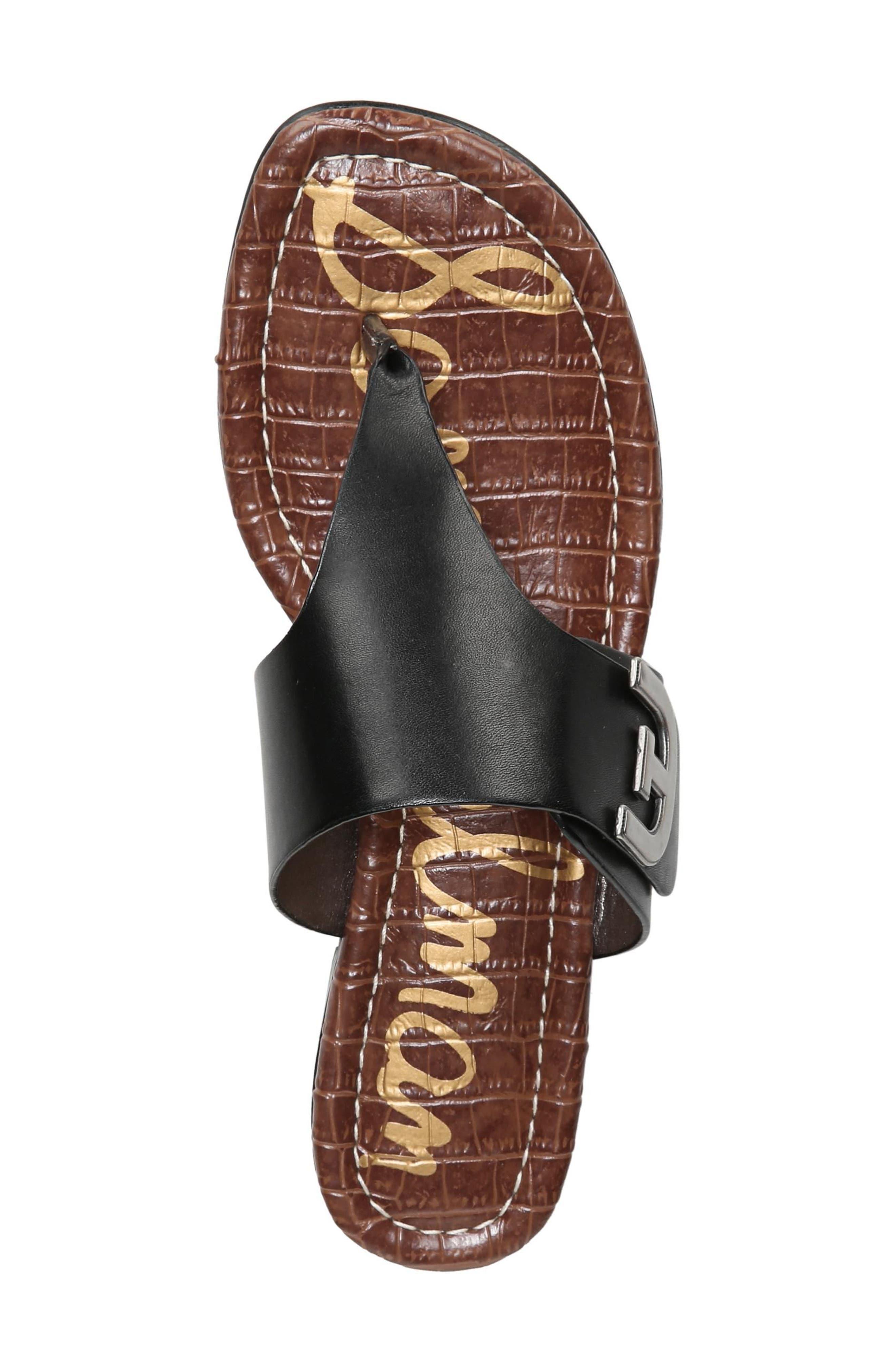 Barry V-Strap Thong Sandal,                             Alternate thumbnail 5, color,                             Black Leather