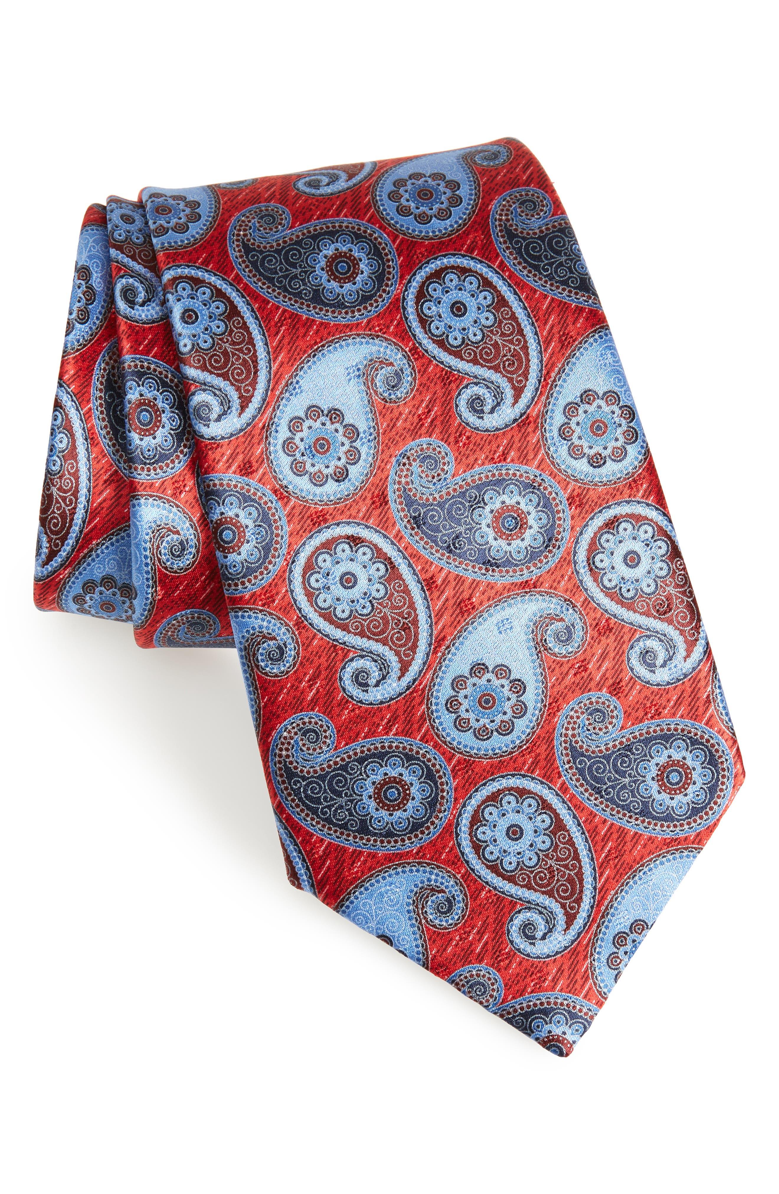 Paisley Silk Tie,                             Main thumbnail 1, color,                             Red