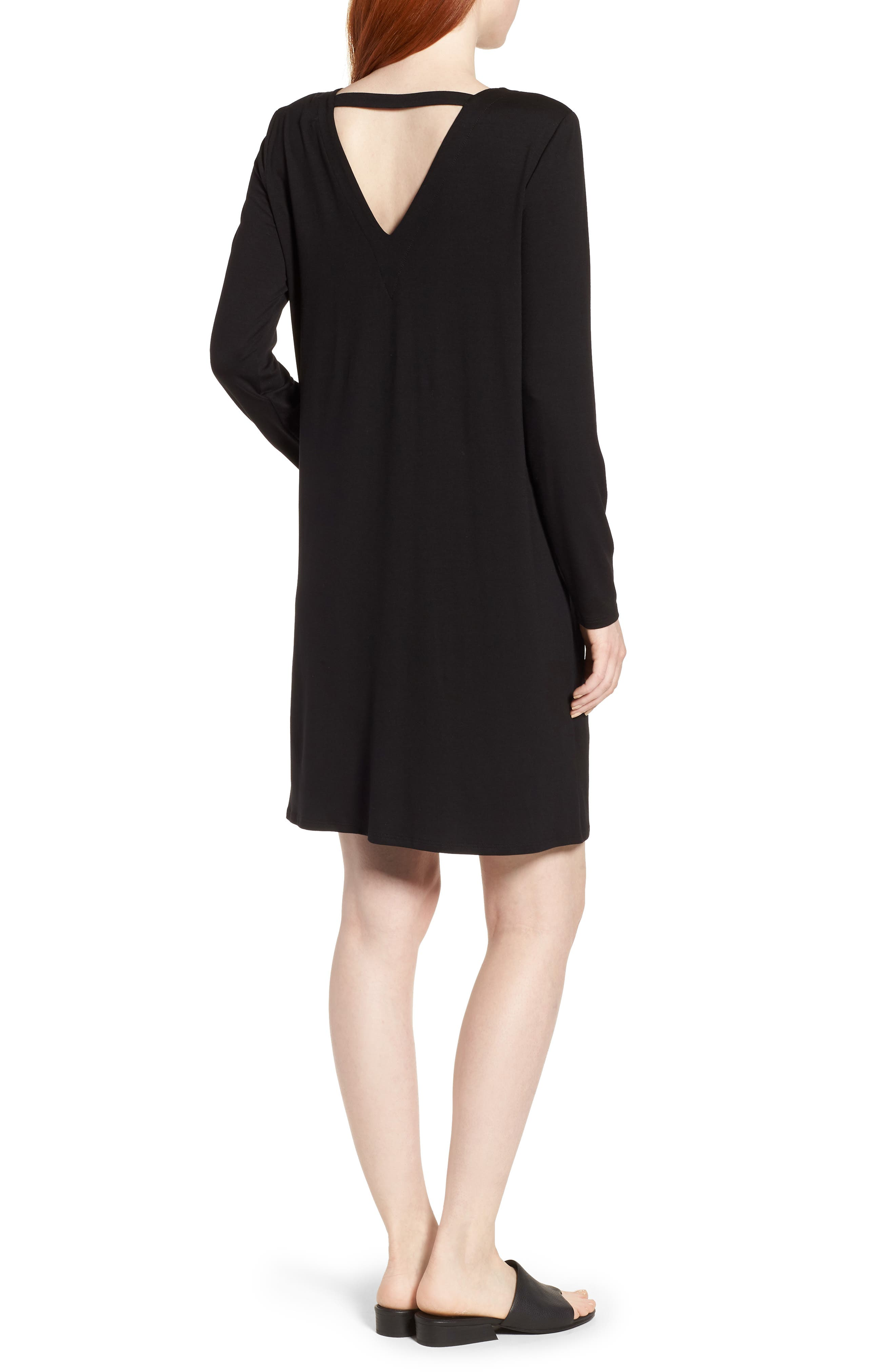 V-Back Stretch Tencel<sup>®</sup> Lyocell Shift Dress,                             Alternate thumbnail 2, color,                             Black