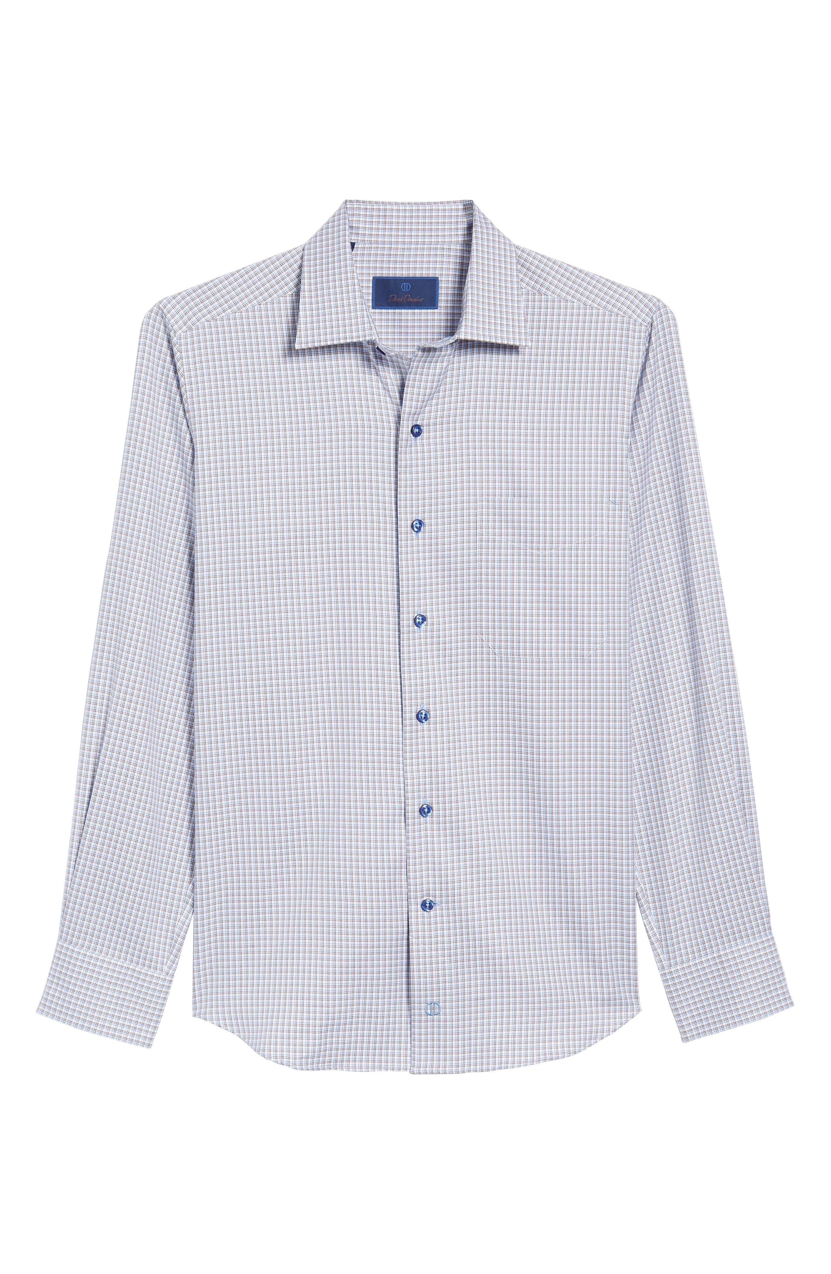 Sport Shirt,                             Alternate thumbnail 6, color,                             Blue/ Chocolate