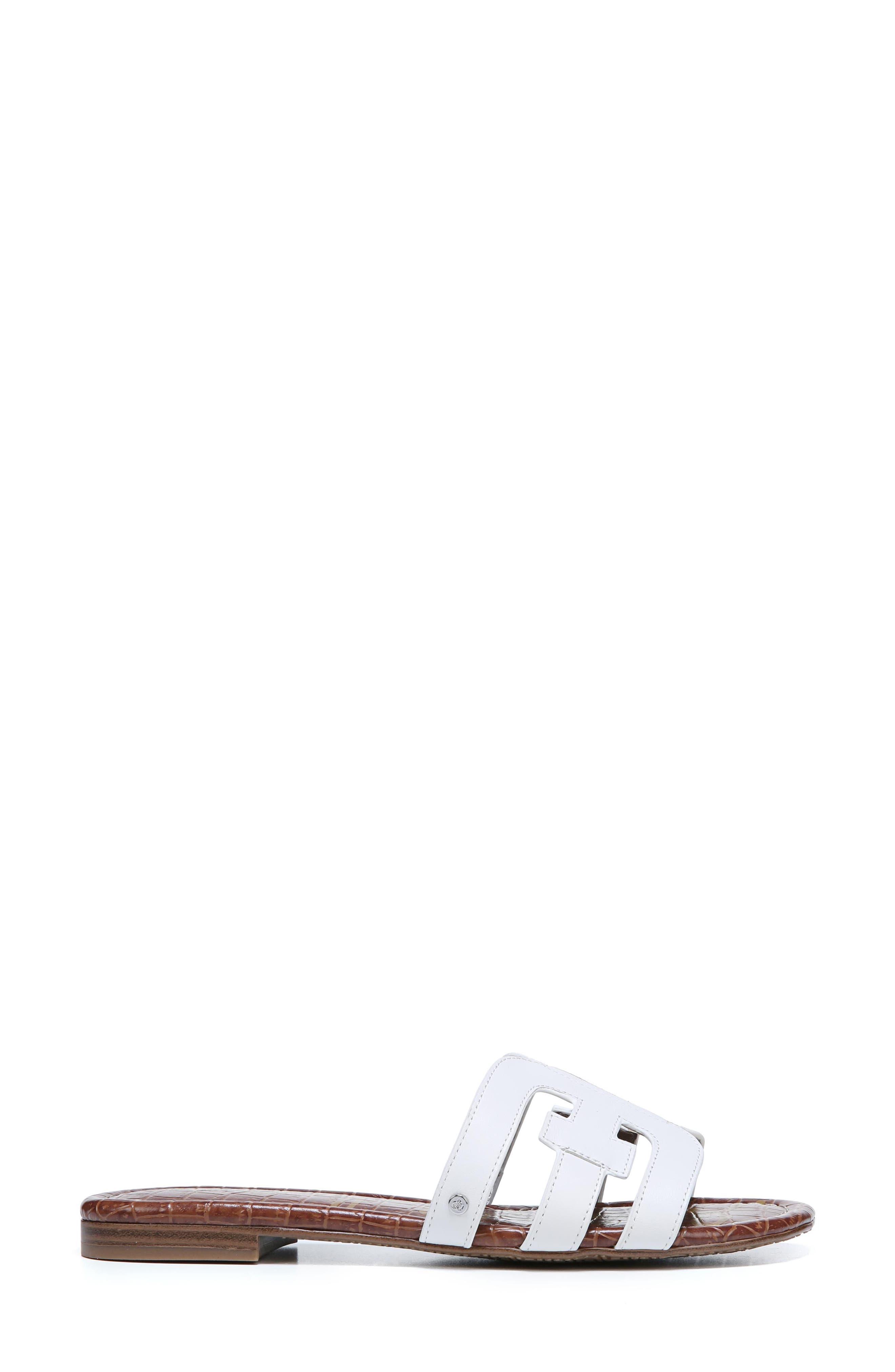 Bay Cutout Slide Sandal,                             Alternate thumbnail 3, color,                             Bright White Leather