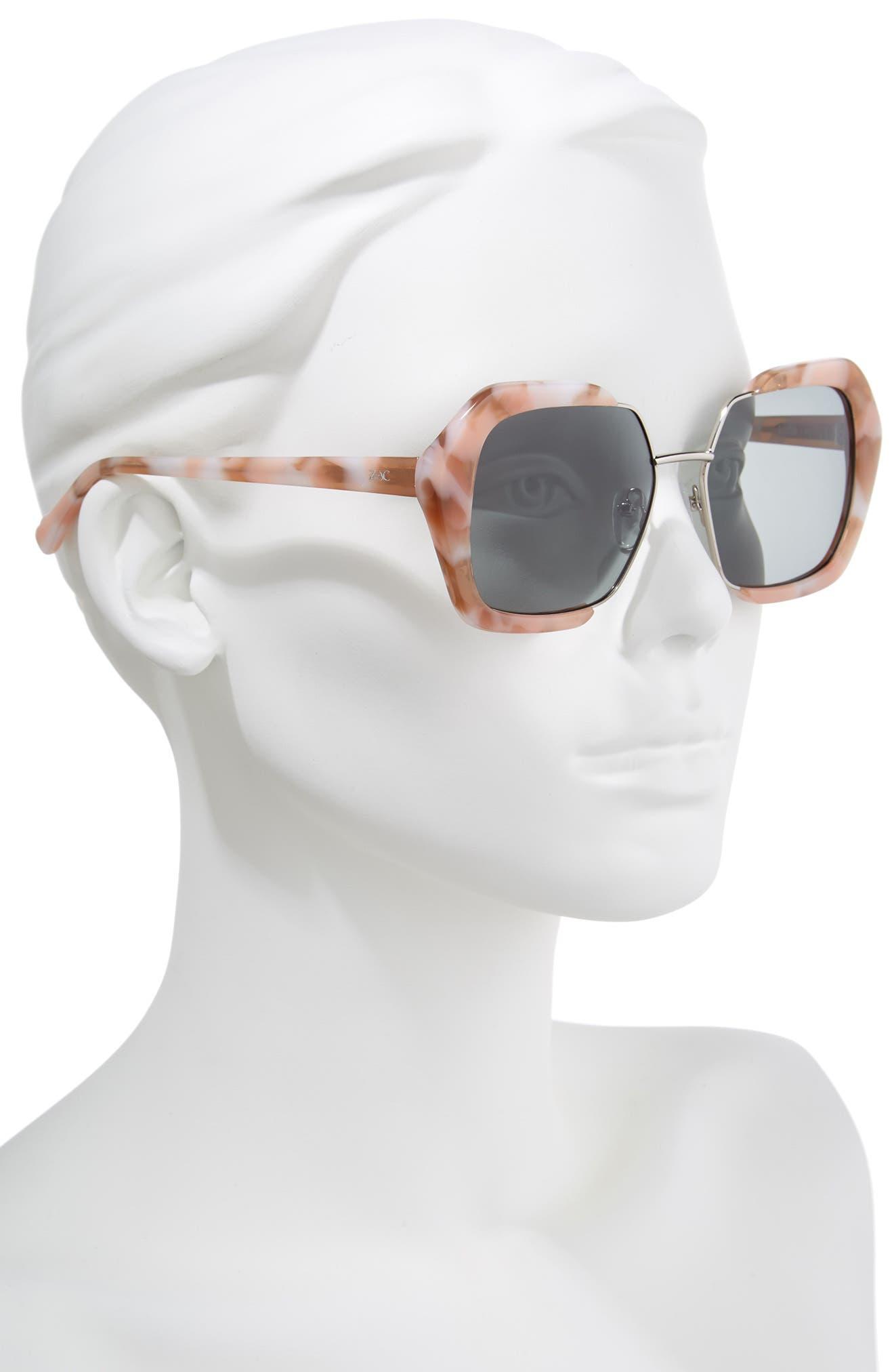 Isleen 55mm Polarized Sunglasses,                             Alternate thumbnail 2, color,                             Pink/ Tortoise/ Gold
