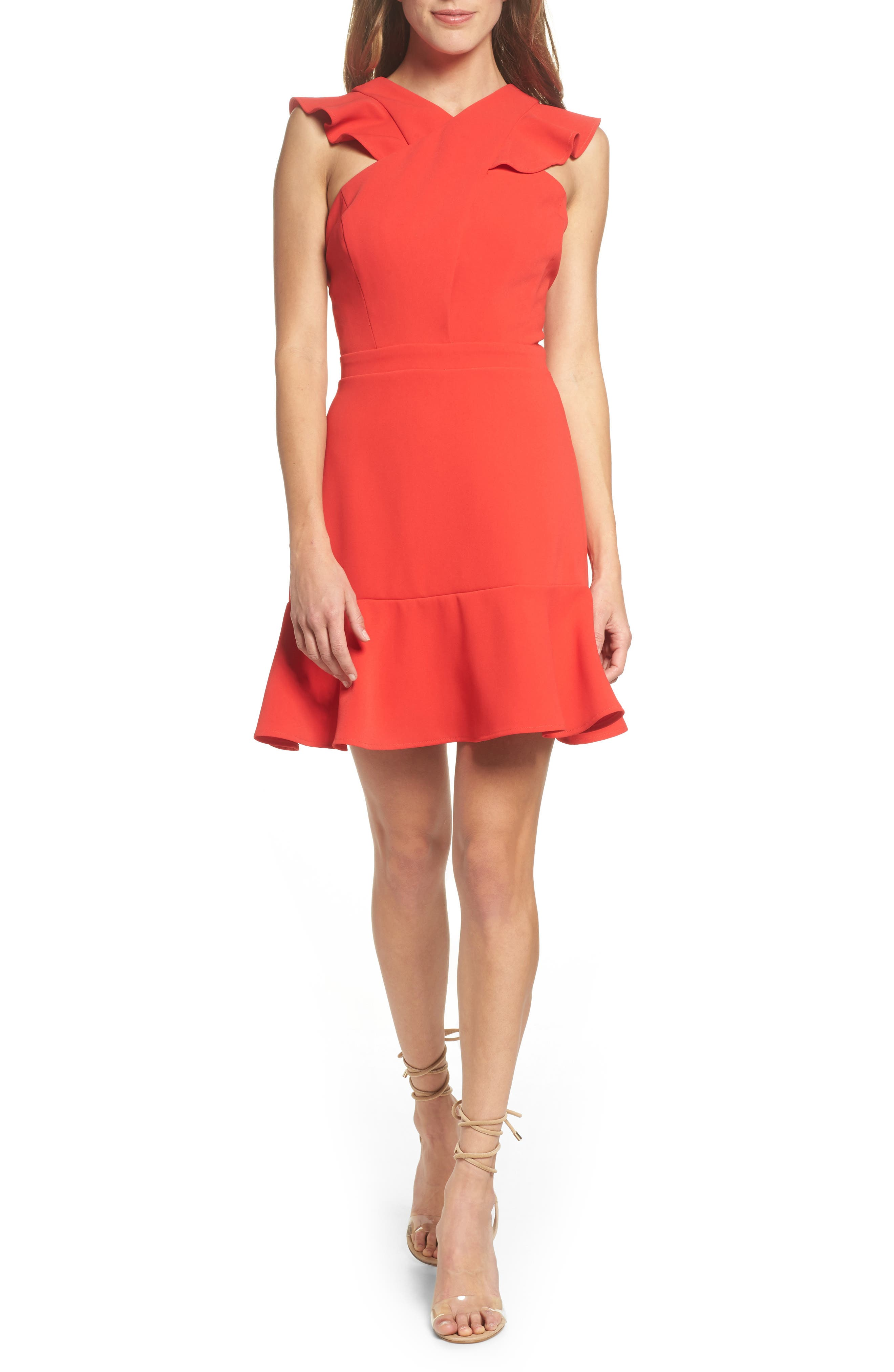 Cross Front Ruffle Dress,                             Main thumbnail 1, color,                             Red Mars