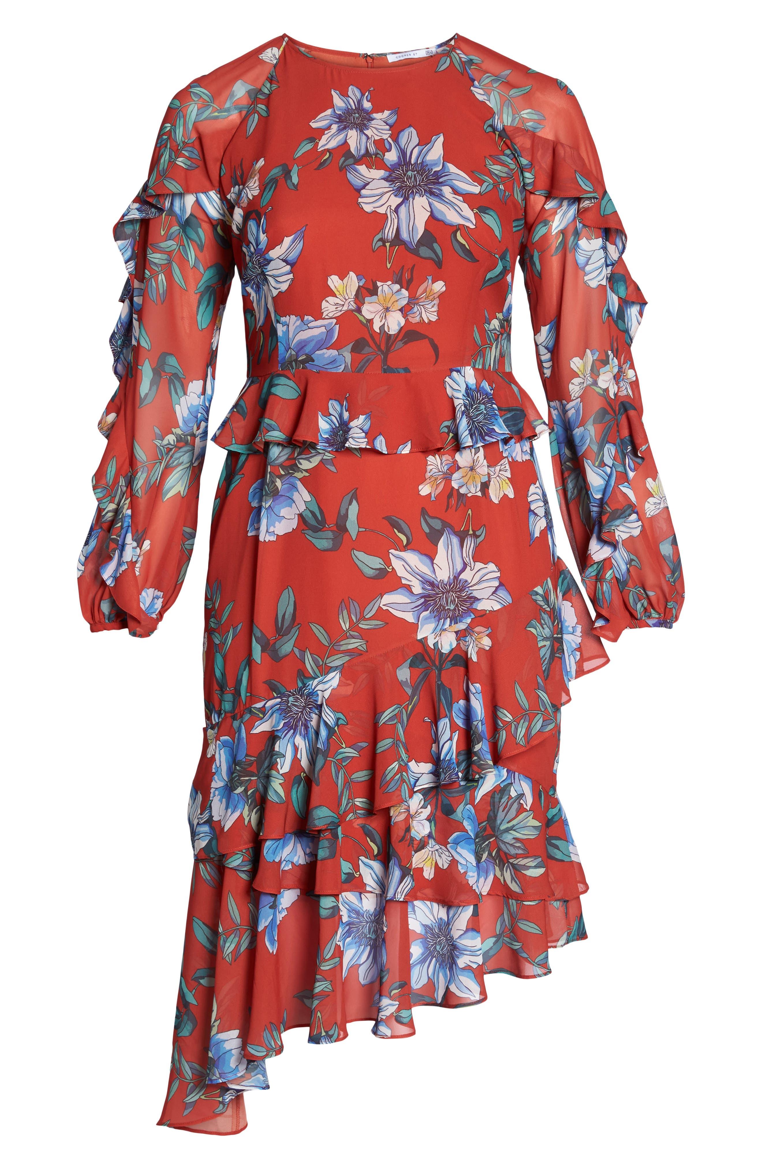 Floral Asymmetrical Dress,                             Alternate thumbnail 6, color,                             Print Dark