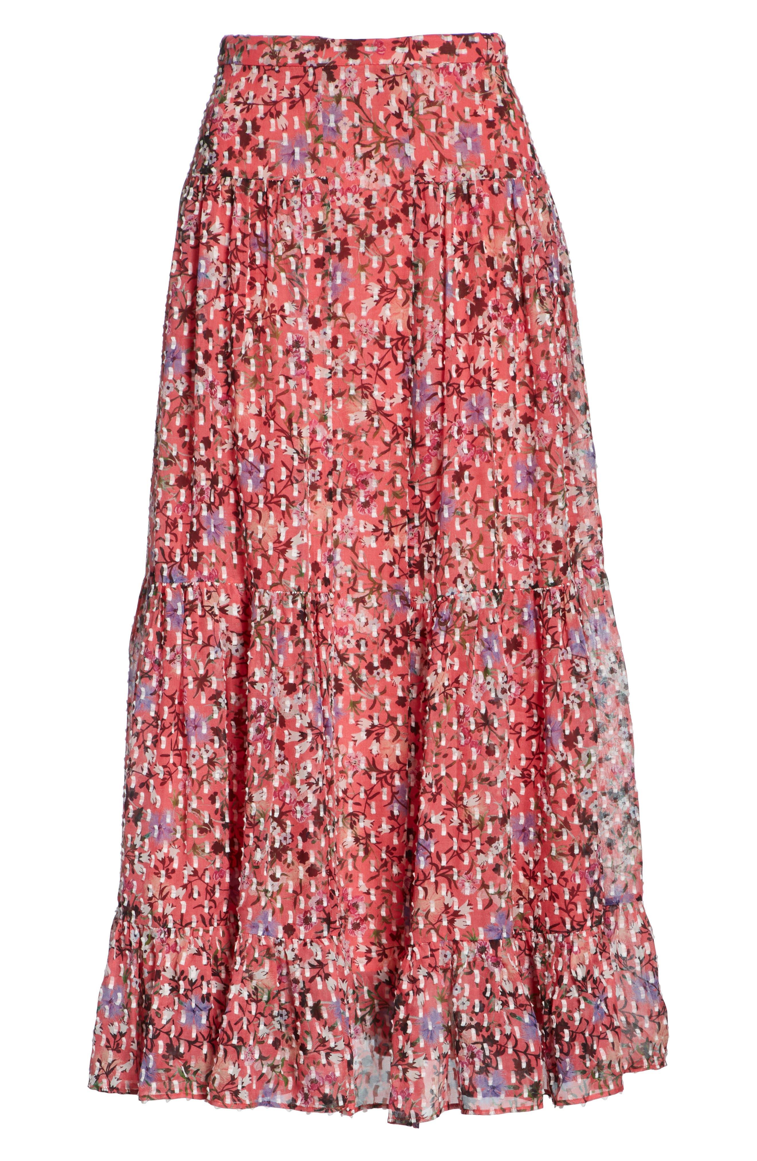 Andie Ruffle Hem Silk Blend Skirt,                             Alternate thumbnail 6, color,                             Coral Meadow