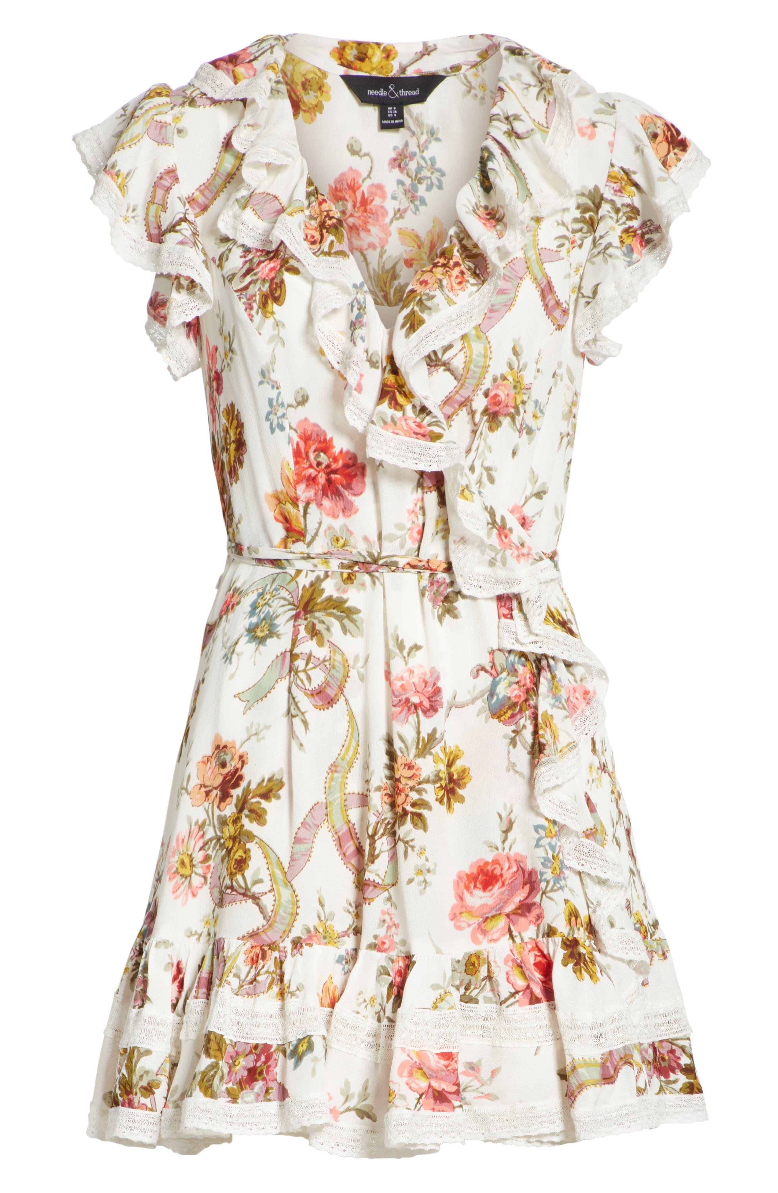 Rainbow Rose Wrap Dress,                             Alternate thumbnail 6, color,                             Ivory