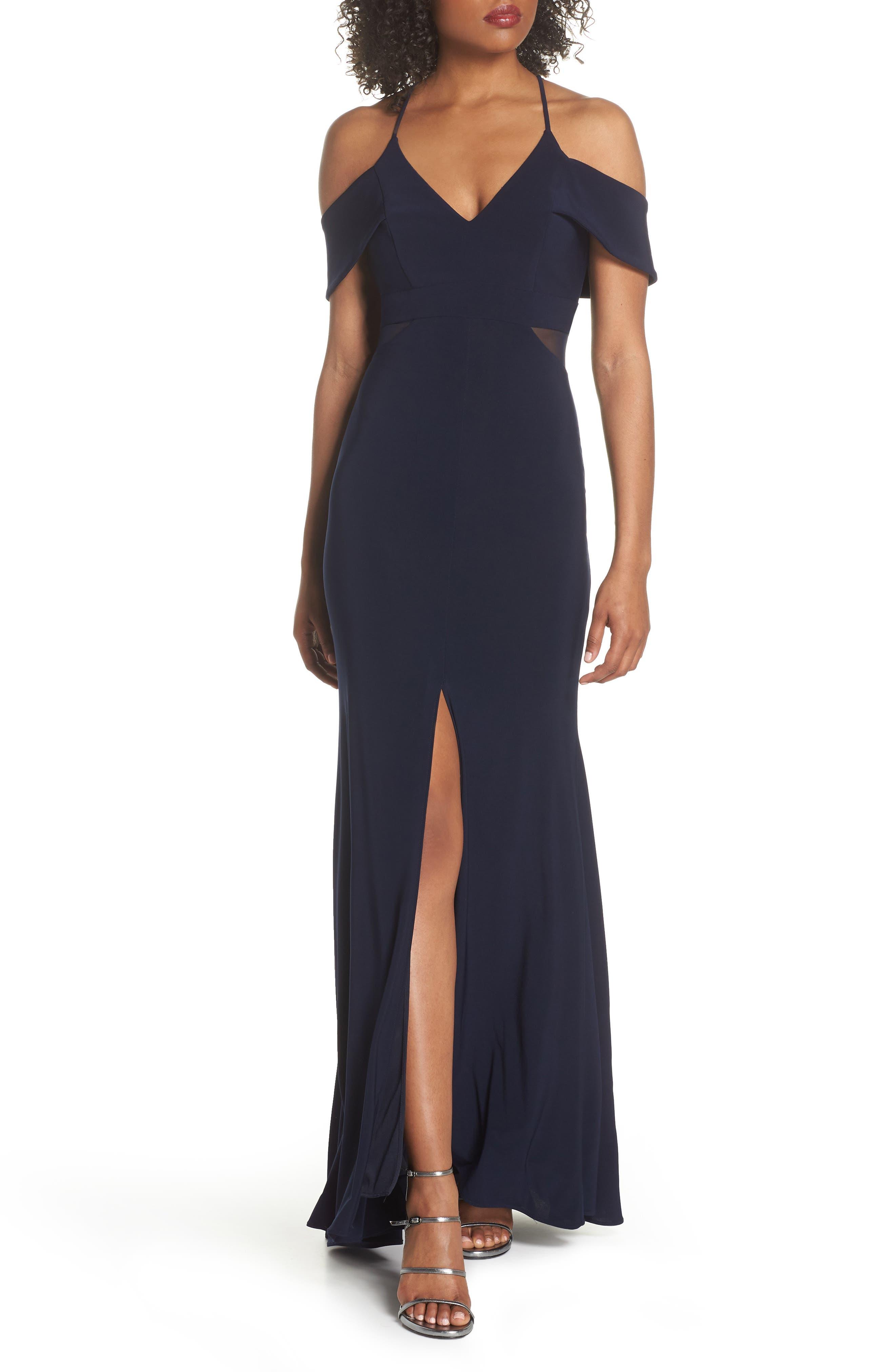 Cold Shoulder Gown,                         Main,                         color, Navy