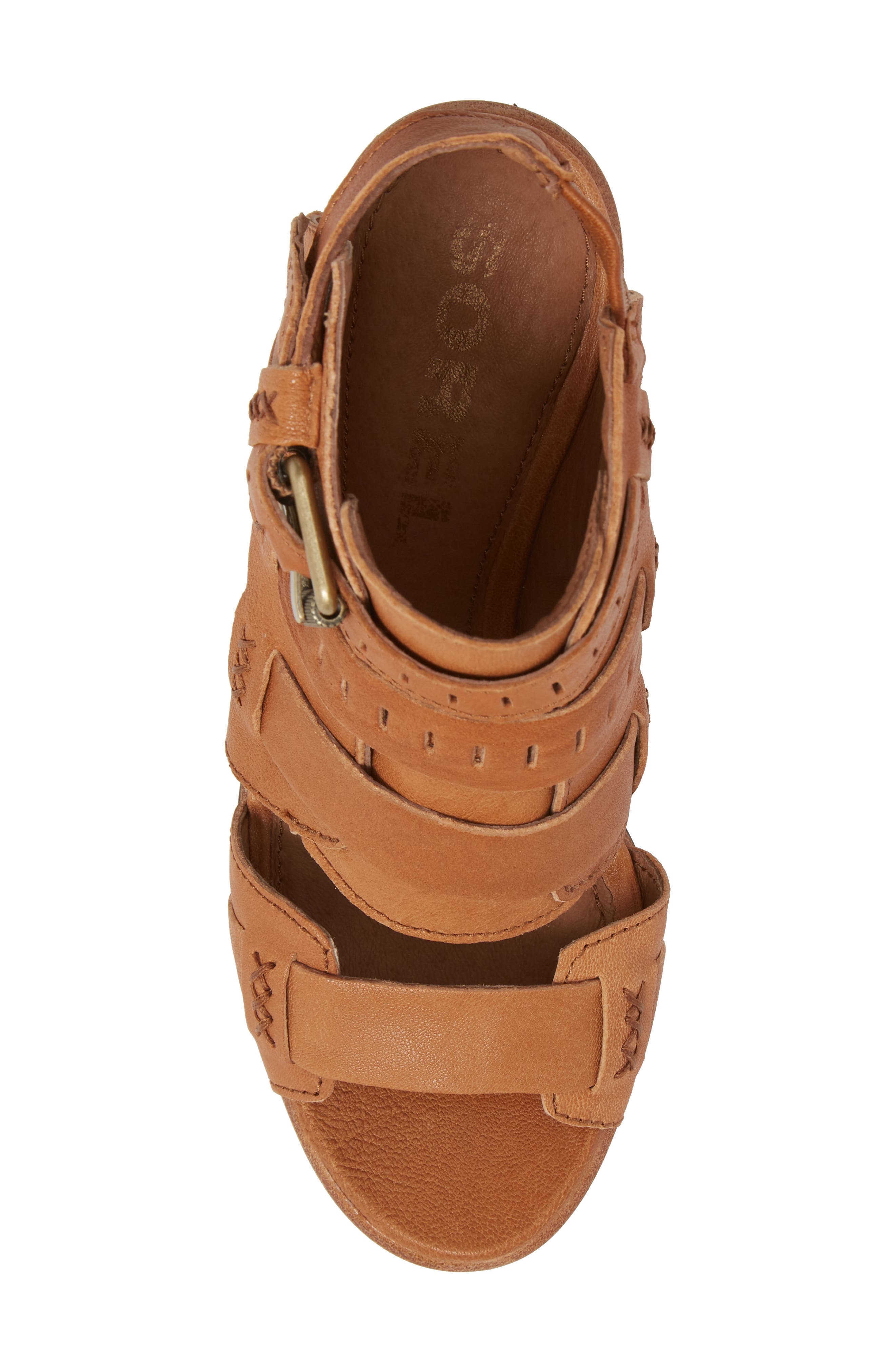Nadia Buckle Bootie,                             Alternate thumbnail 5, color,                             Camel Brown