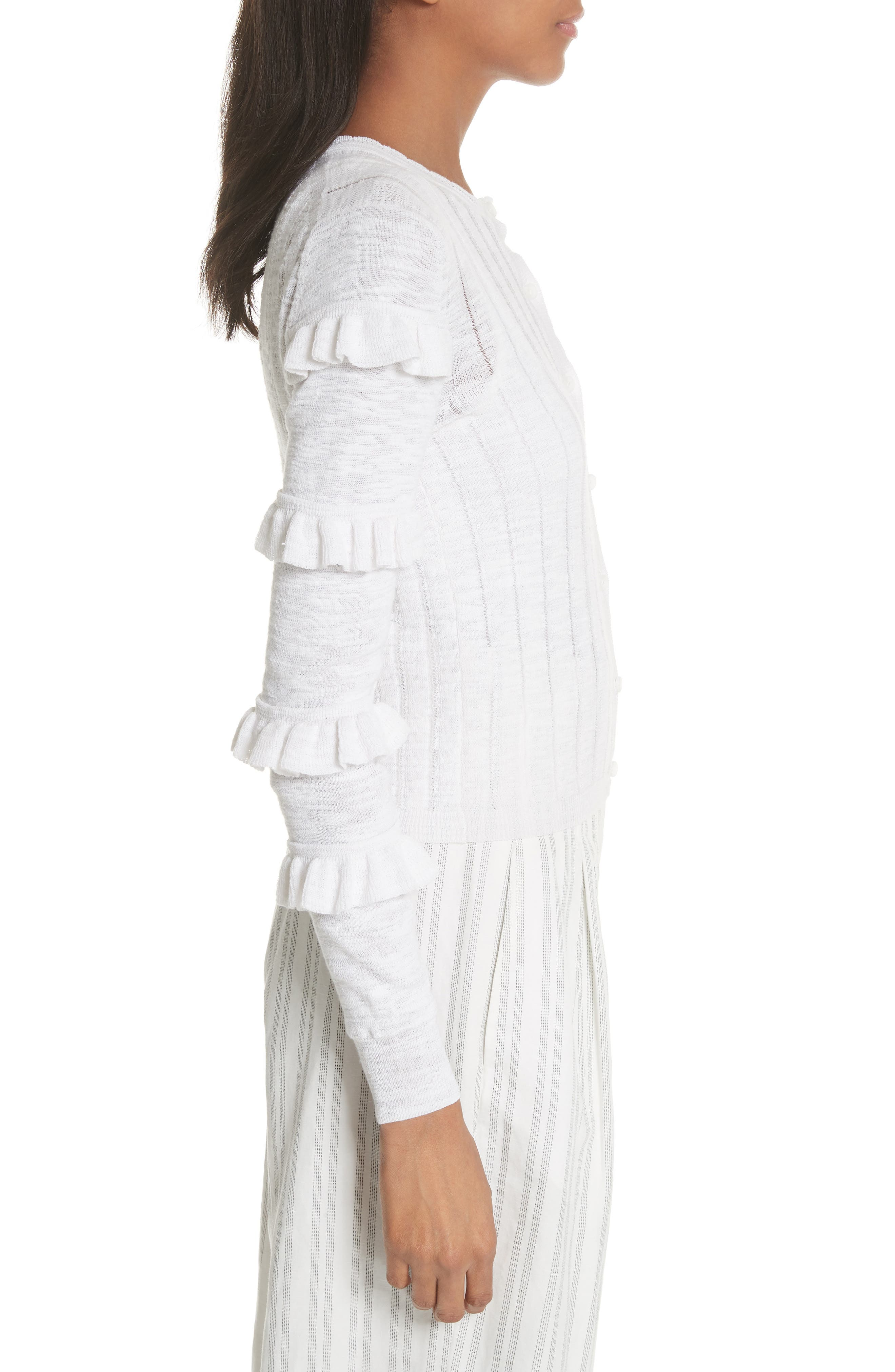 Tiered Ruffle Sleeve Cotton Blend Cardigan,                             Alternate thumbnail 3, color,                             Snow