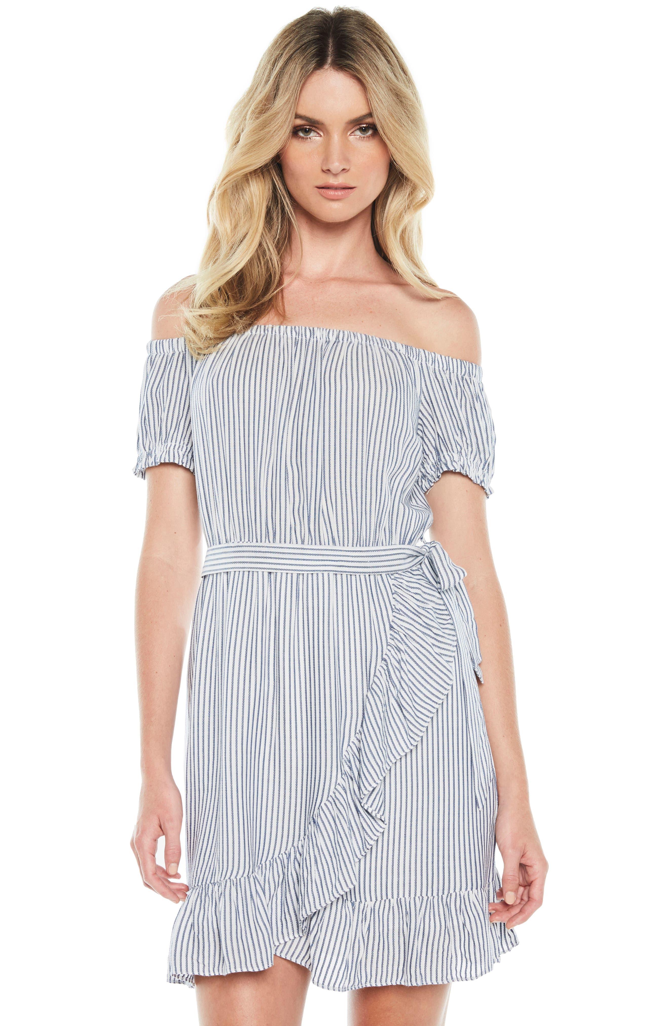 Bobbi Off the Shoulder Stripe Dress,                             Alternate thumbnail 5, color,                             Blue/ White