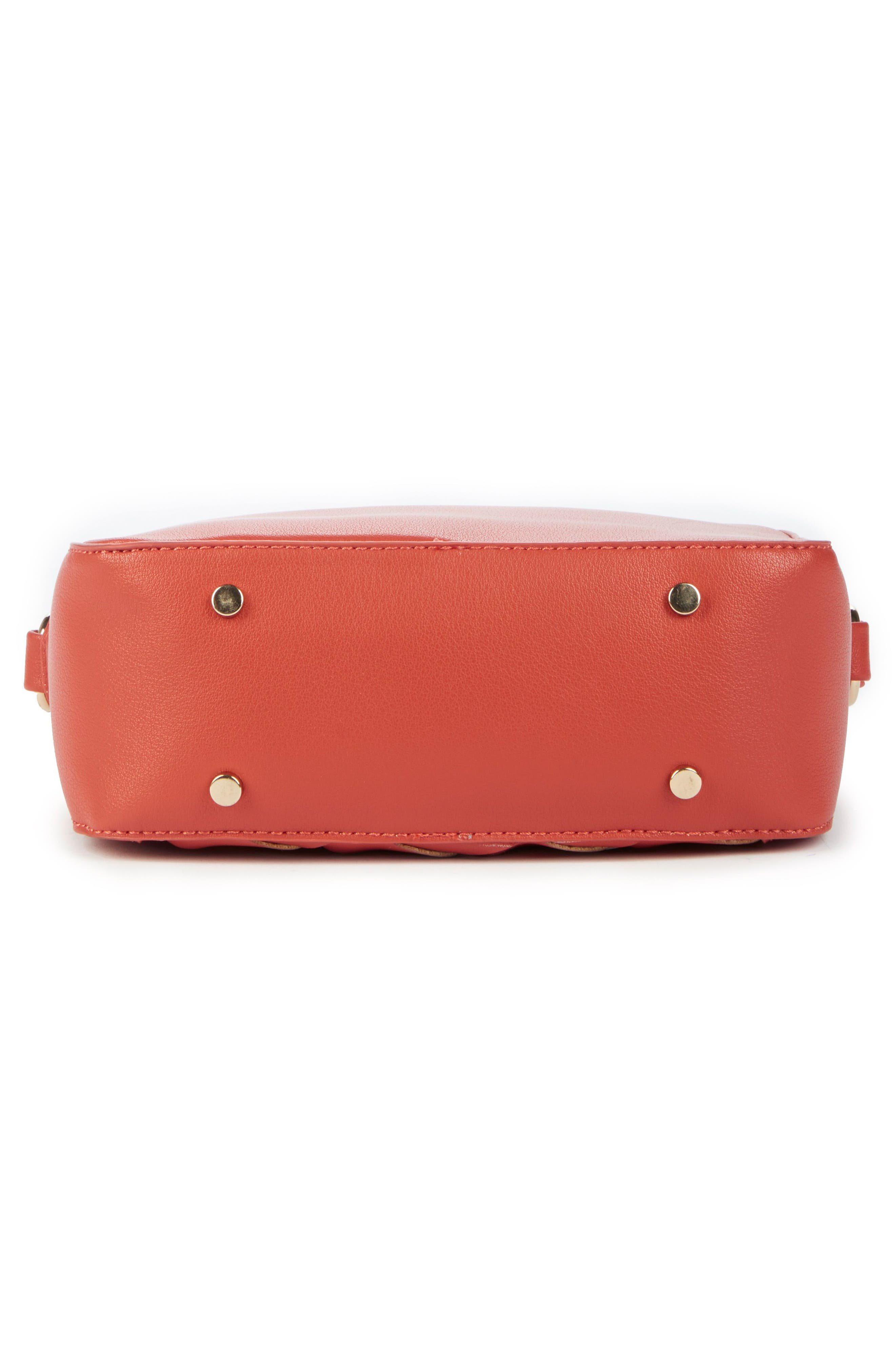 Hand Woven Faux Leather Crossbody Bag,                             Alternate thumbnail 5, color,                             Coral