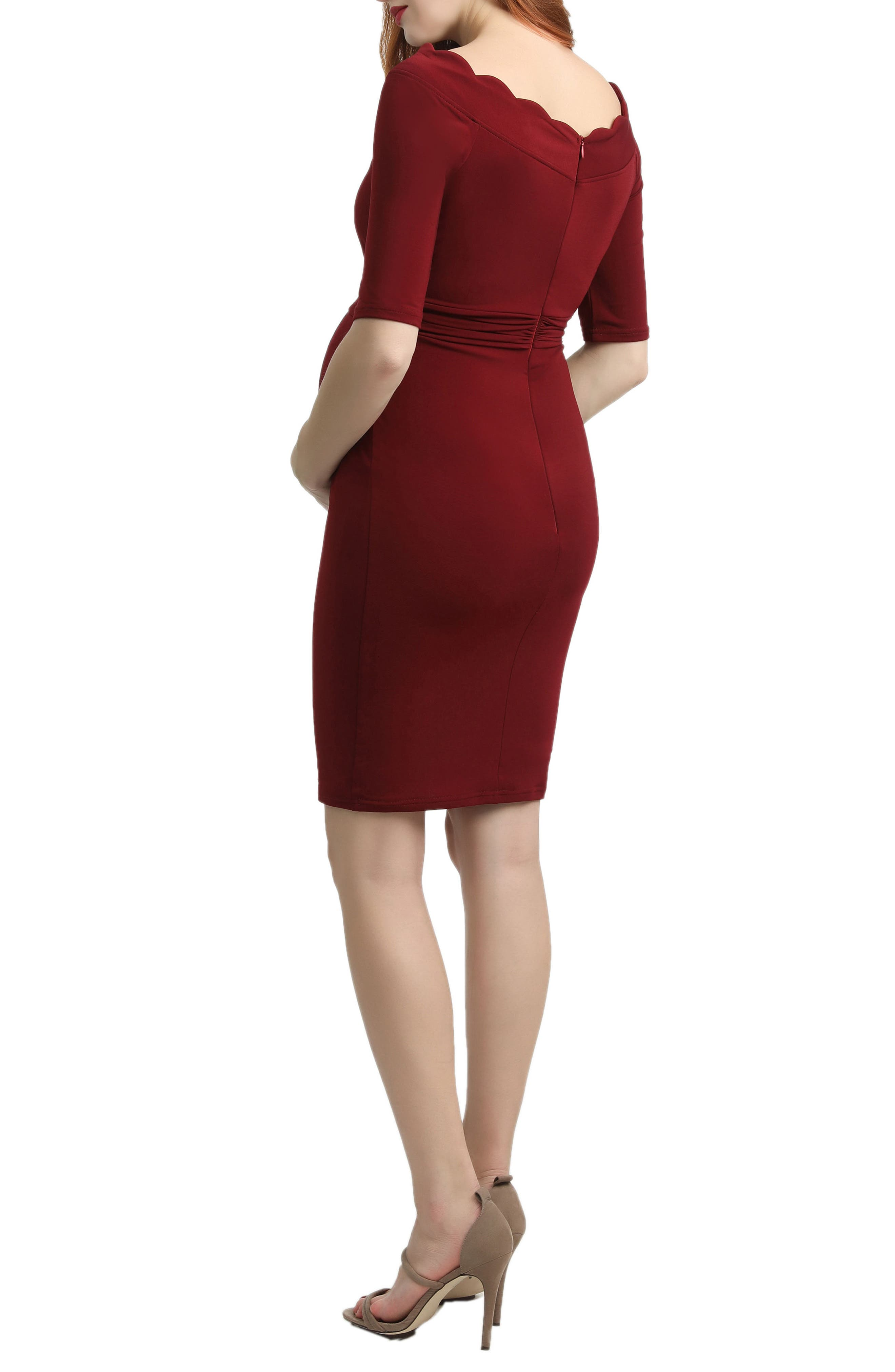 Kendall Scallop Trim Body-Con Maternity Dress,                             Alternate thumbnail 2, color,                             Wine