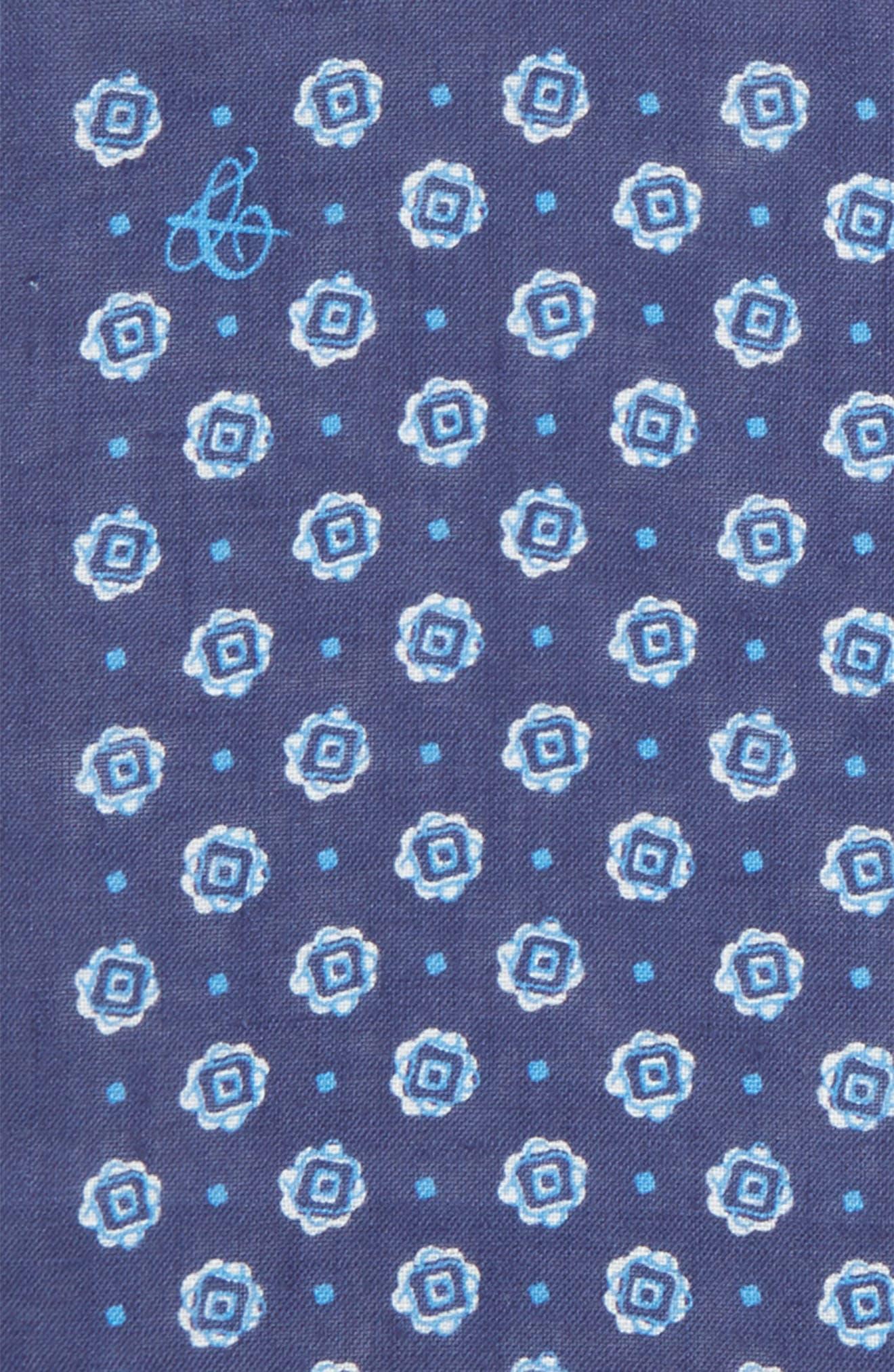Medallion Linen Pocket Square,                             Alternate thumbnail 3, color,                             Dark Blue