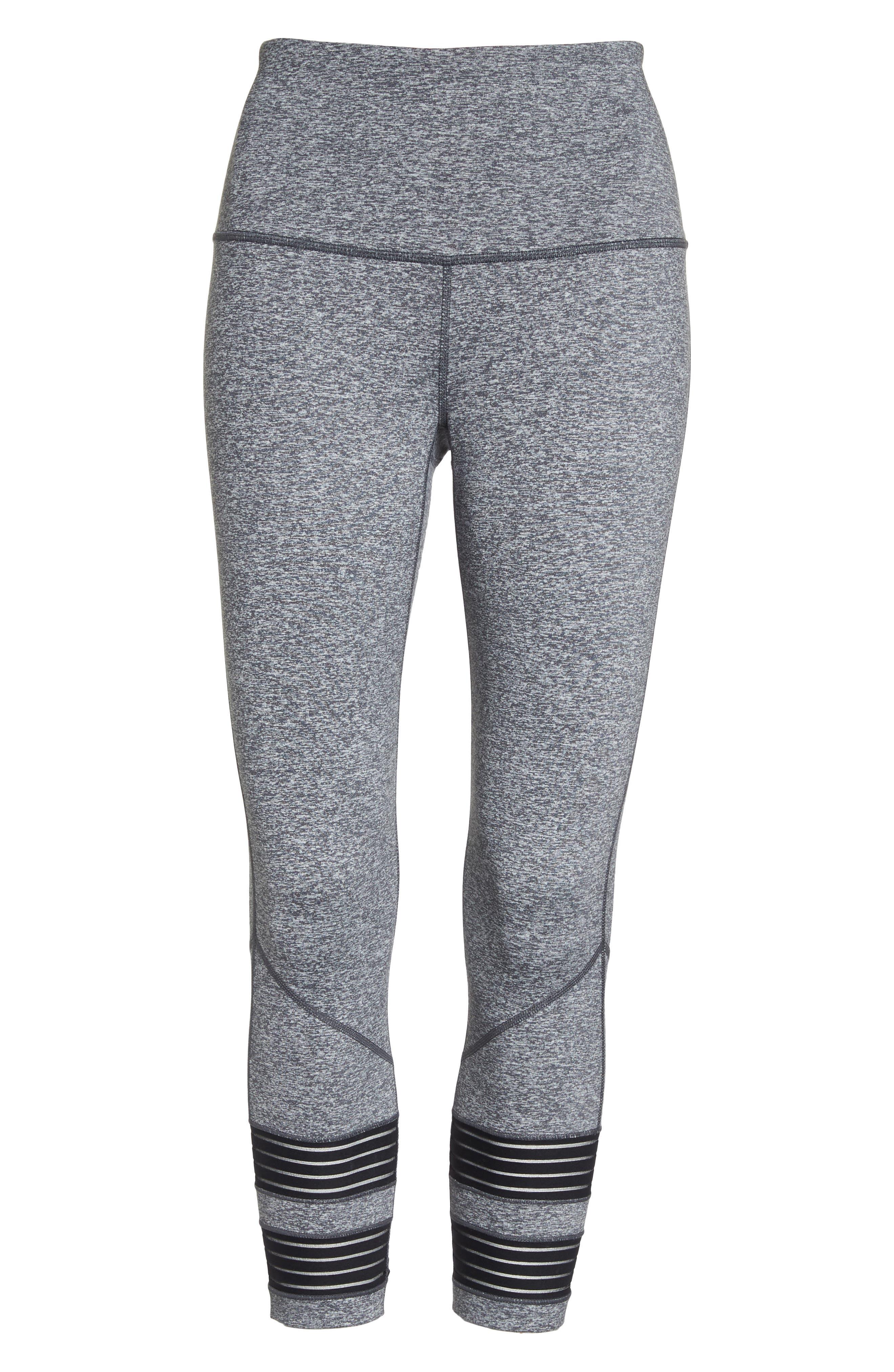 High Waist Twin Crop Leggings,                             Alternate thumbnail 7, color,                             Grey Graphite