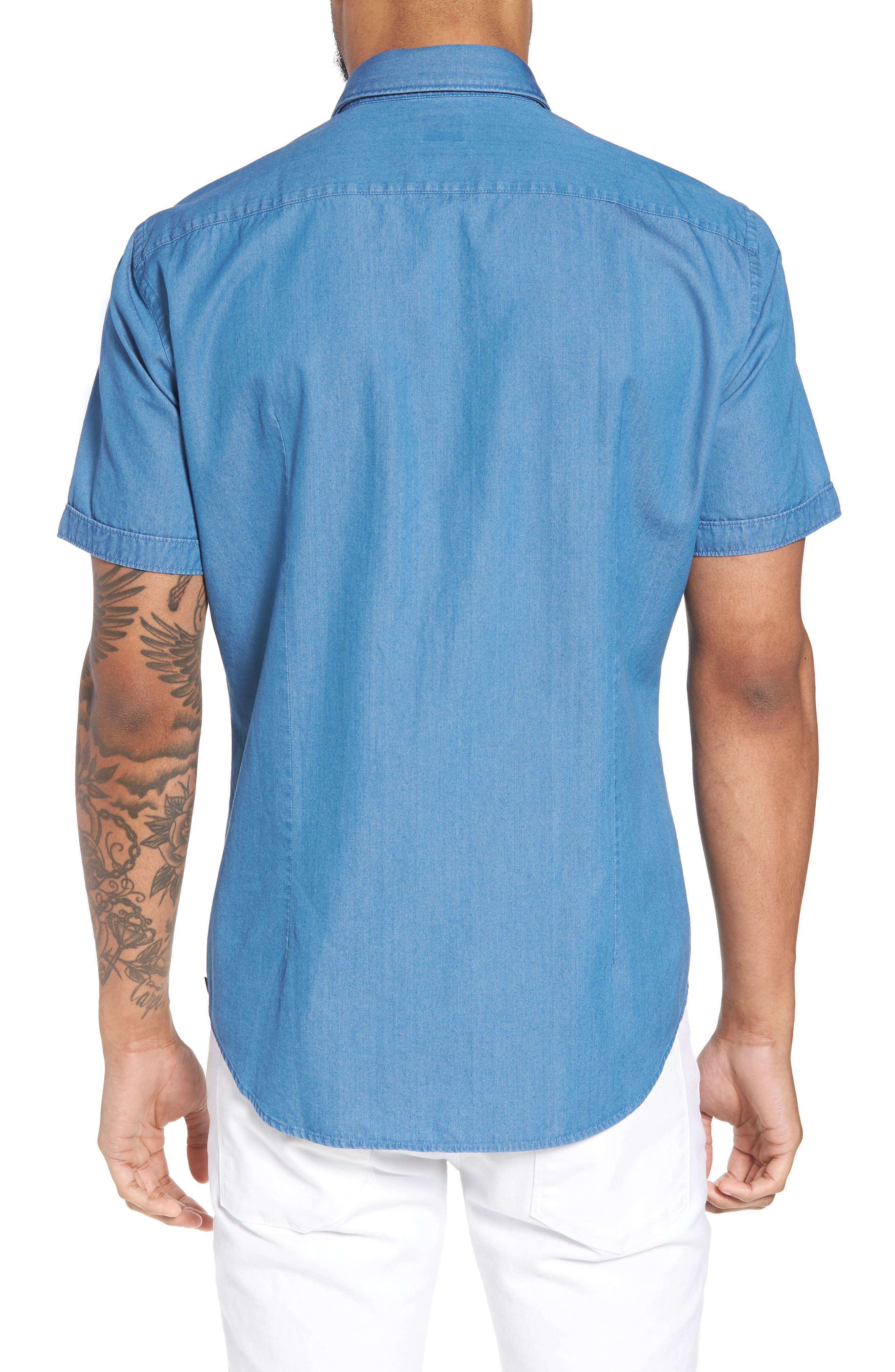 Robb Trim Fit Denim Short Sleeve Sport Shirt,                             Alternate thumbnail 2, color,                             Blue