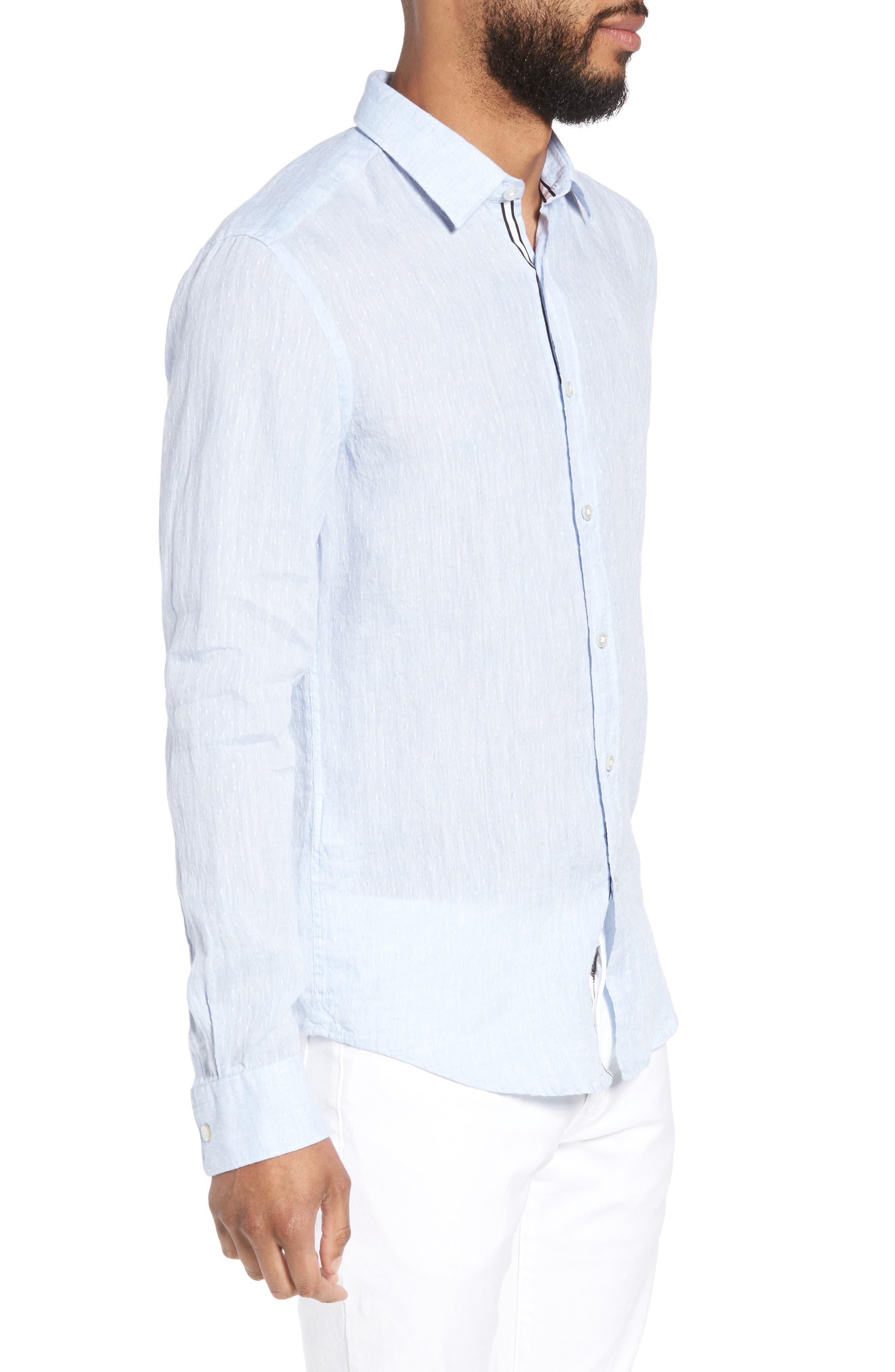 Ronni Slim Fit Dobby Linen Sport Shirt,                             Alternate thumbnail 4, color,                             Blue
