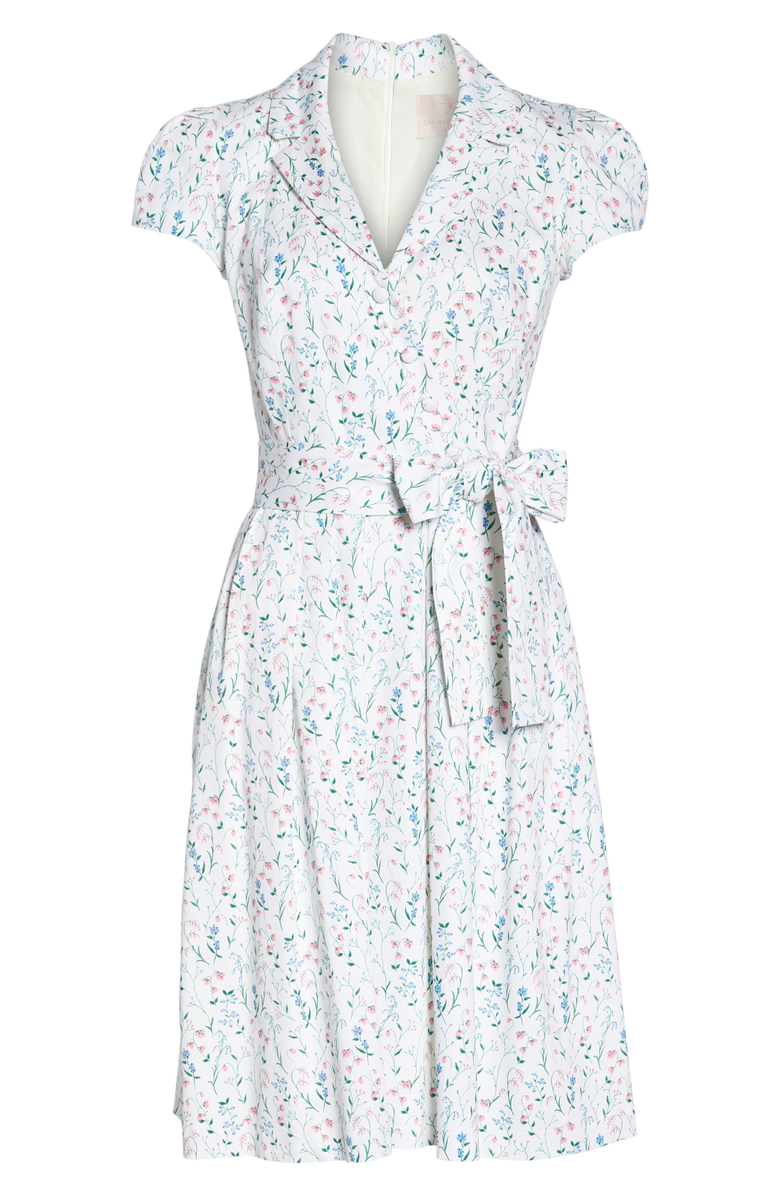 Anne Spring Sprig Print Wrap Style Dress,                             Alternate thumbnail 8, color,                             Pink